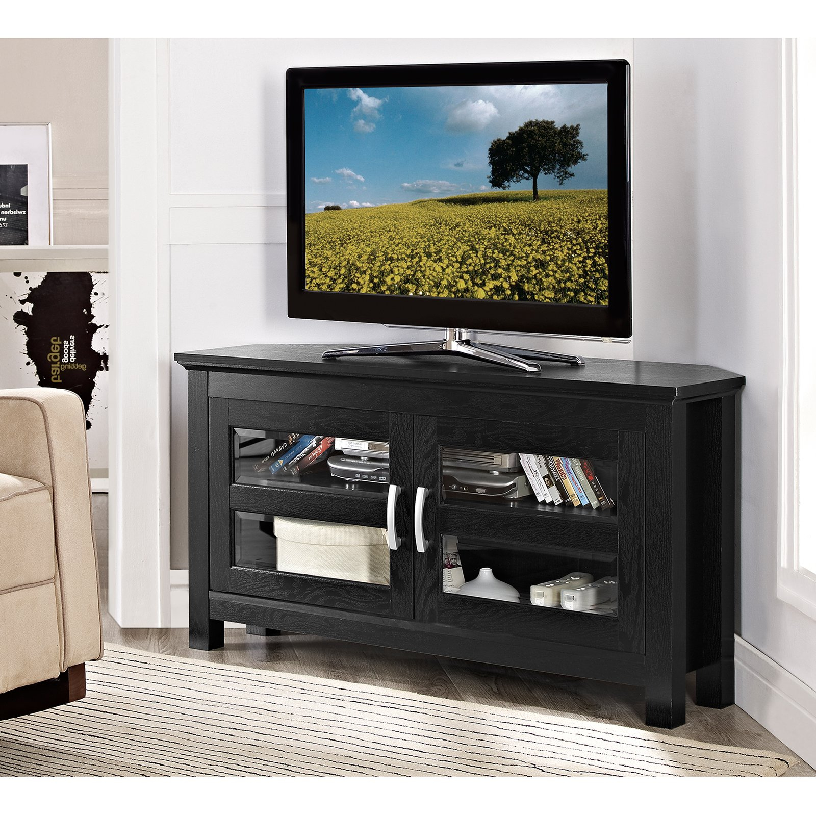 Trendy Grey Wash Entertainment Unit Center Walmart Fireplace Tv Stand Home Within Wooden Tv Cabinets With Glass Doors (View 12 of 20)
