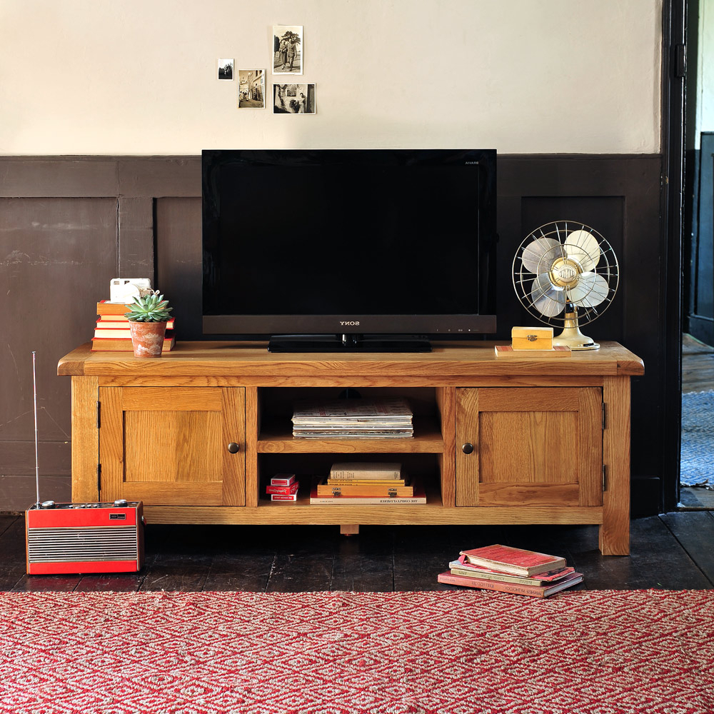 Trendy Manly Vancouver Oak Large Tv Stand Up To Including Free Delivery Throughout Pine Wood Tv Stands (View 7 of 20)
