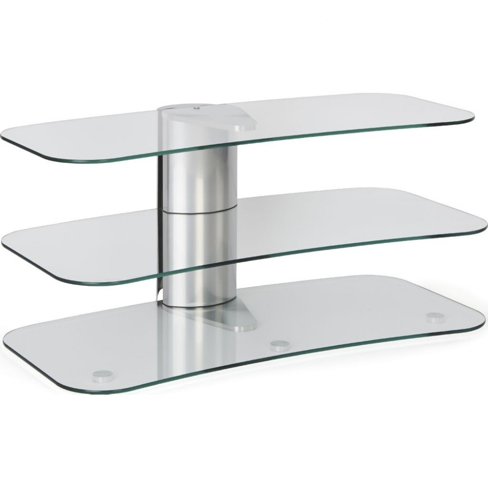 Trendy Medium Clear Glass 3 Shelf Long Television Stand Unit Within Glass Tv Stands (View 17 of 20)