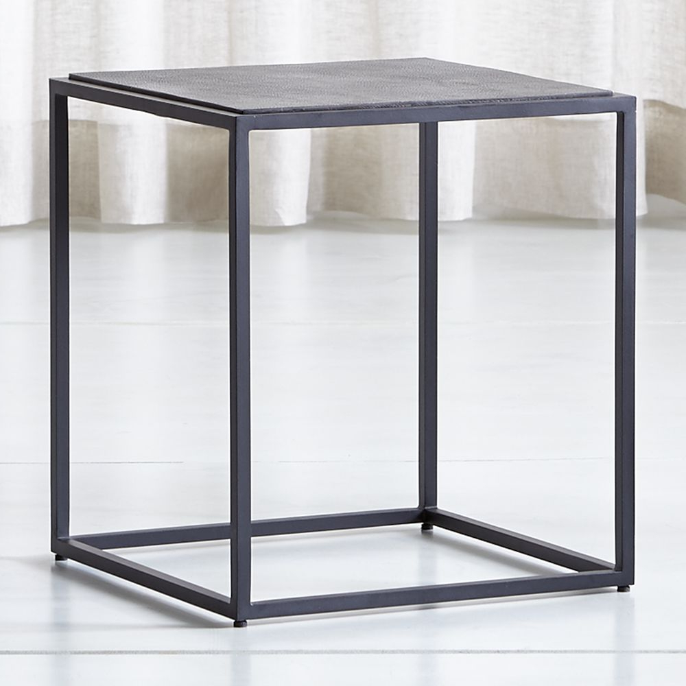 Trendy Mix Leather Imprint Tall Metal Frame Side Table (View 2 of 20)