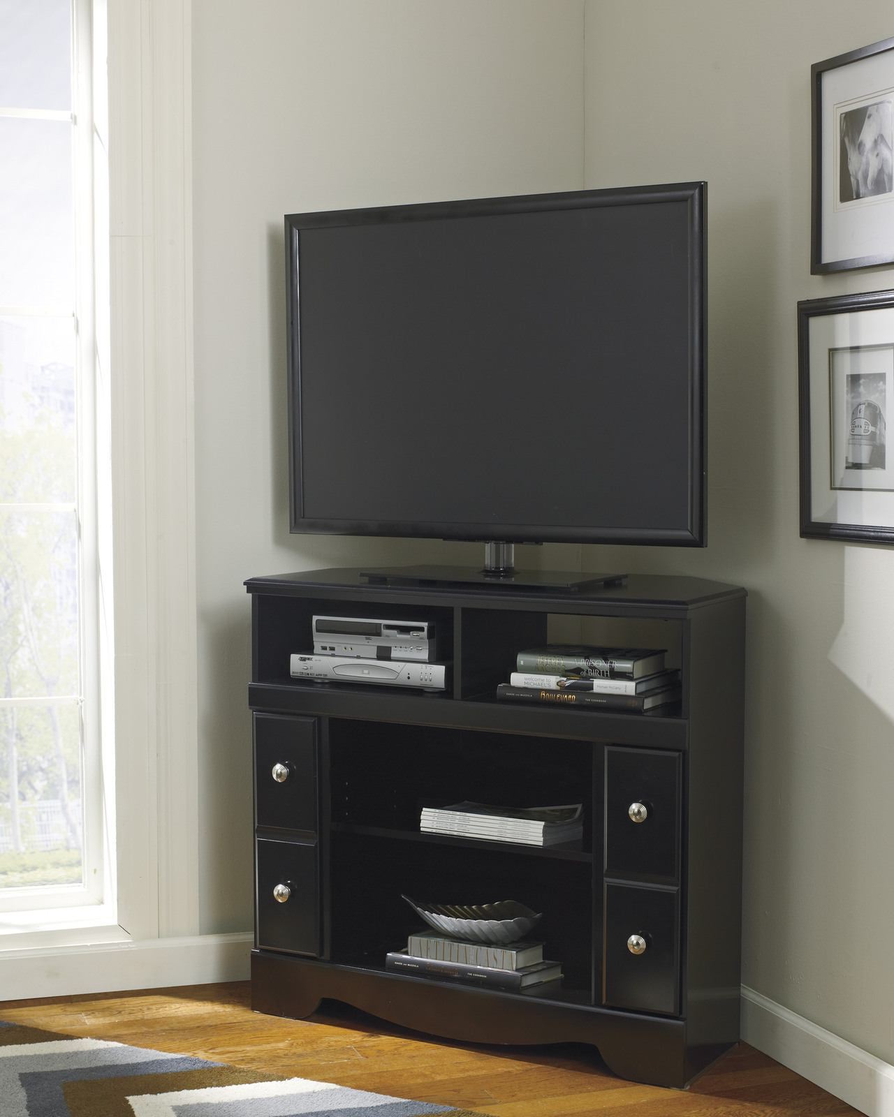 Trendy Modern Tv Stand Design Media Console Cabinet Dark Brown Walmart 65 Intended For Dark Brown Corner Tv Stands (View 11 of 20)