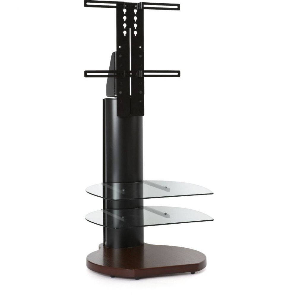 Trendy Off The Wall Tv Stands Within Dark Wood Walnut Base Tv Stand Bracket Storage Shelves (View 8 of 20)