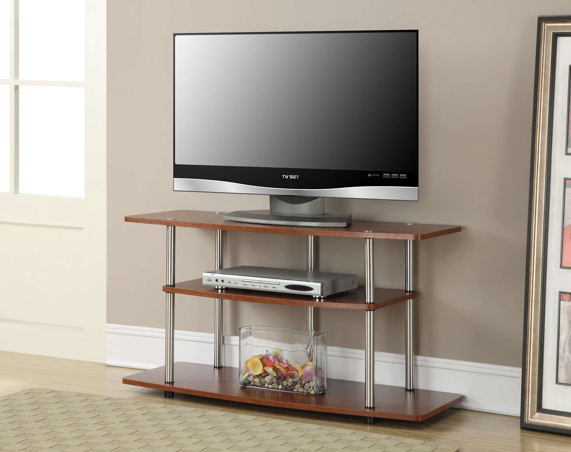 Trendy Open Shelf Tv Stands With Regard To Open Storage Tv Stand Shelving Media Center Modern 2 Drawer With (View 2 of 20)