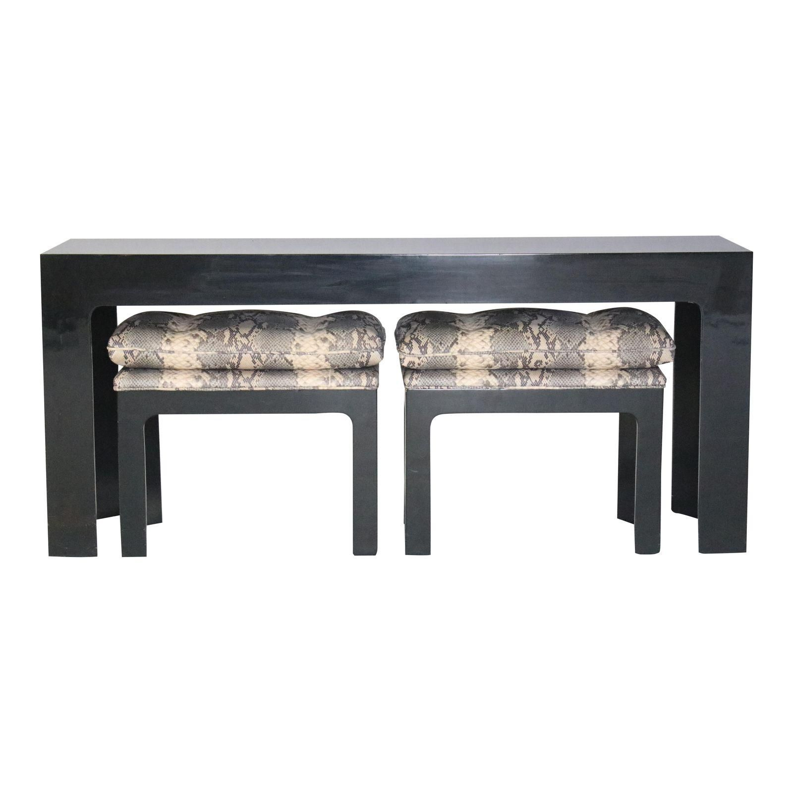 Trendy Parson Style Black Lacquered Console Table And Benches (View 3 of 20)