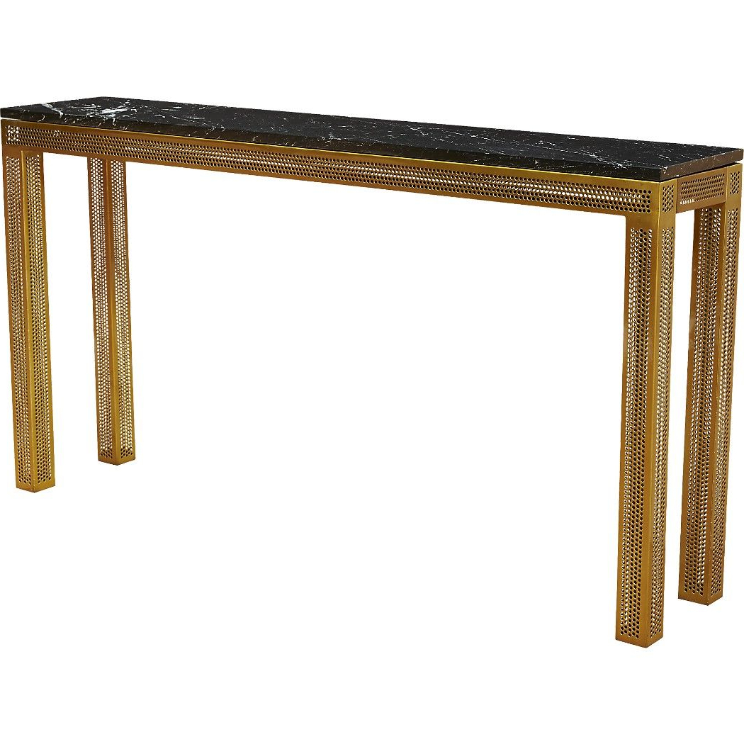 Trendy Parsons White Marble Top & Brass Base 48X16 Console Tables Throughout Shop Perforated Marble Console Table (View 12 of 20)