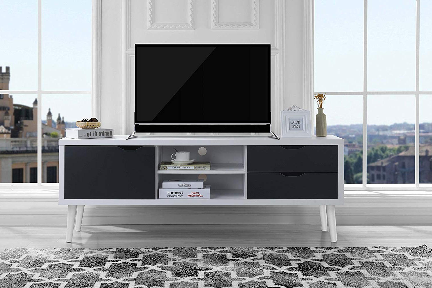 Trendy Rowan 74 Inch Tv Stands With Regard To Amazon: Sofamania Mid Century Style Tv Stand, Living Room (View 16 of 20)
