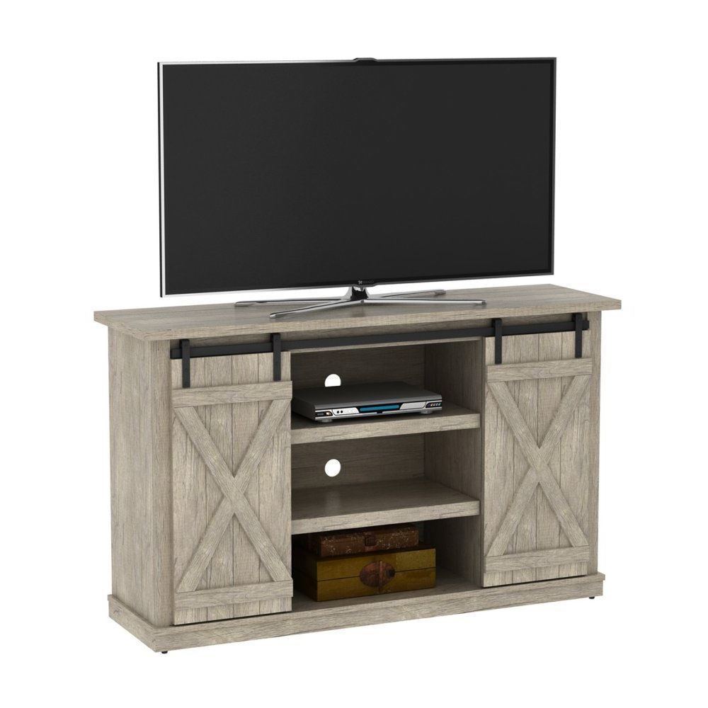 Trendy Rustic Farmhouse Style Barn Door Tv Stand 60 Inch Entertainment Inside Rustic 60 Inch Tv Stands (View 11 of 20)