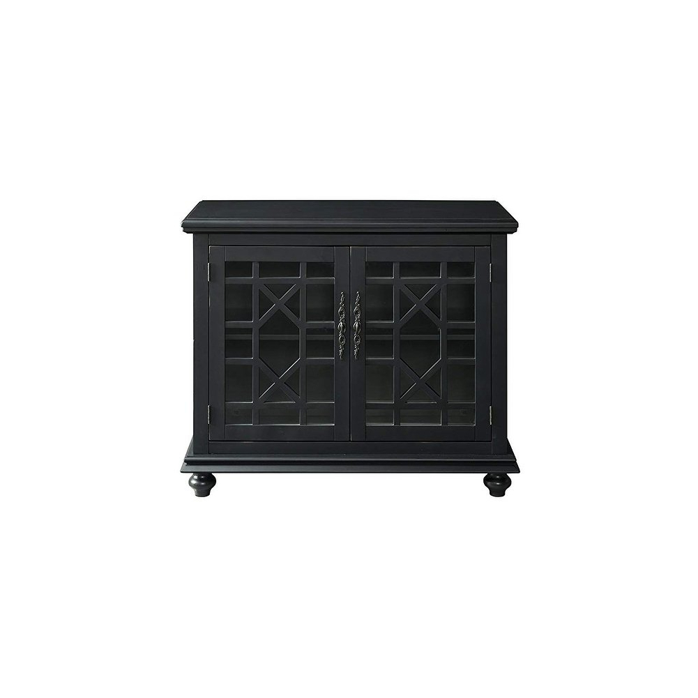 Trendy Shop Wooden Tv Stand With Trellis Detailed Doors, Antique Black Pertaining To Maddy 50 Inch Tv Stands (View 17 of 20)