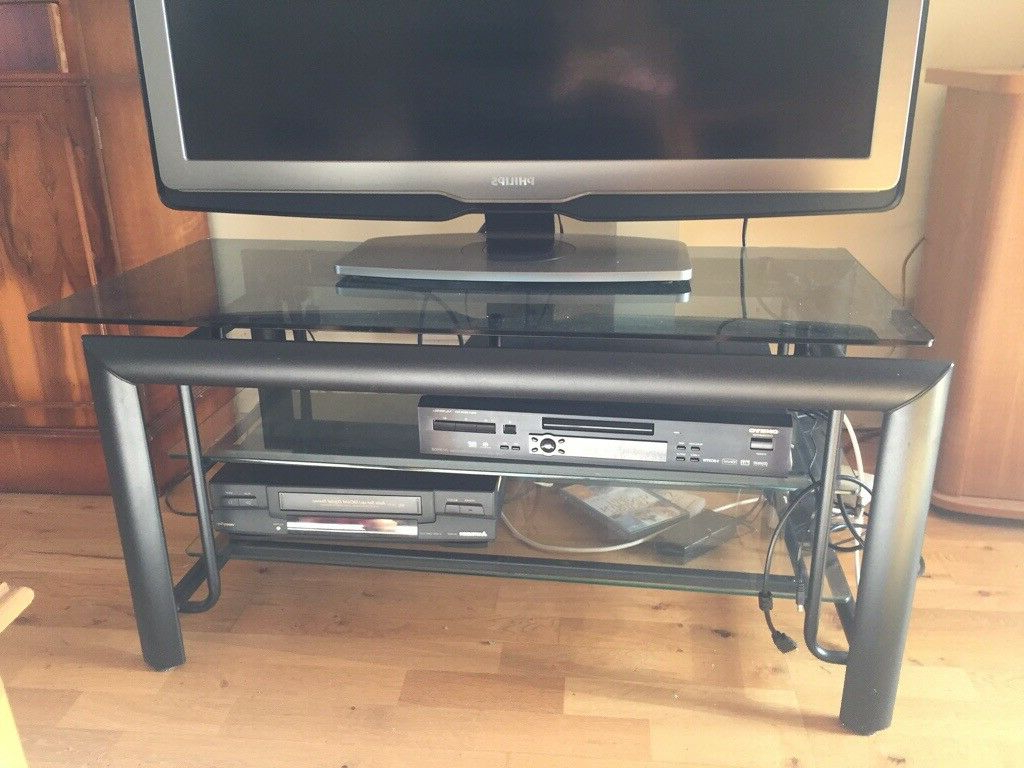 Trendy Smoked Glass Tv Stands Intended For Black Smoked Glass Television Stand (View 19 of 20)