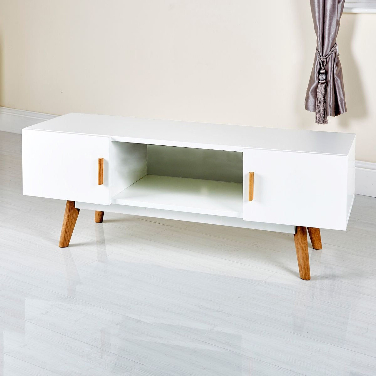 Trendy Stylish White Modern Tv Stand From Abreo Abreo Home Furniture With Regard To Scandinavian Design Tv Cabinets (View 19 of 20)