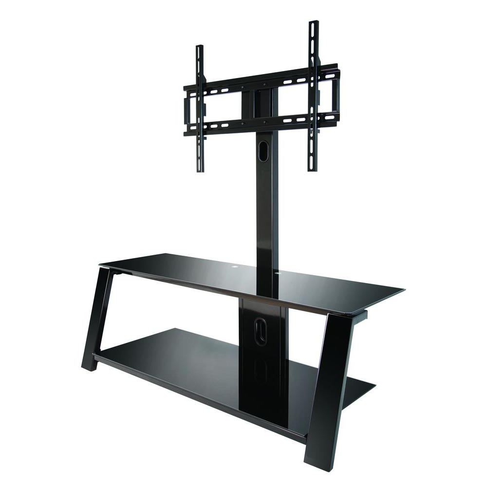 Trendy Swivel Black Glass Tv Stands With Bell'o Black Swivel Mount Entertainment Center Tp4444 – The Home Depot (View 19 of 20)