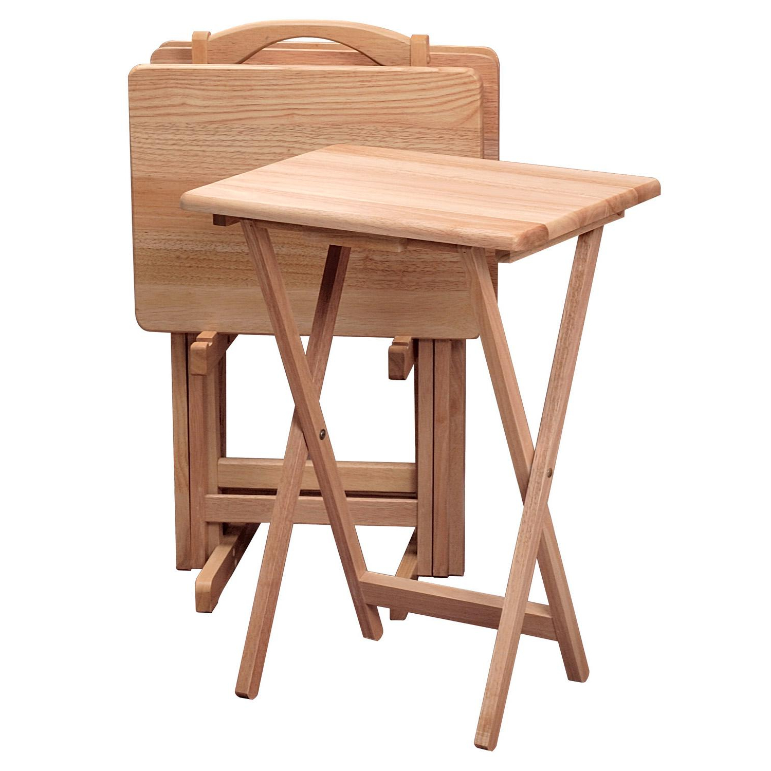 Trendy Tv Tray Set With Stands Regarding Winsome Wood 42520 Alex Snack Table Natural Set 5 Pc (View 5 of 20)