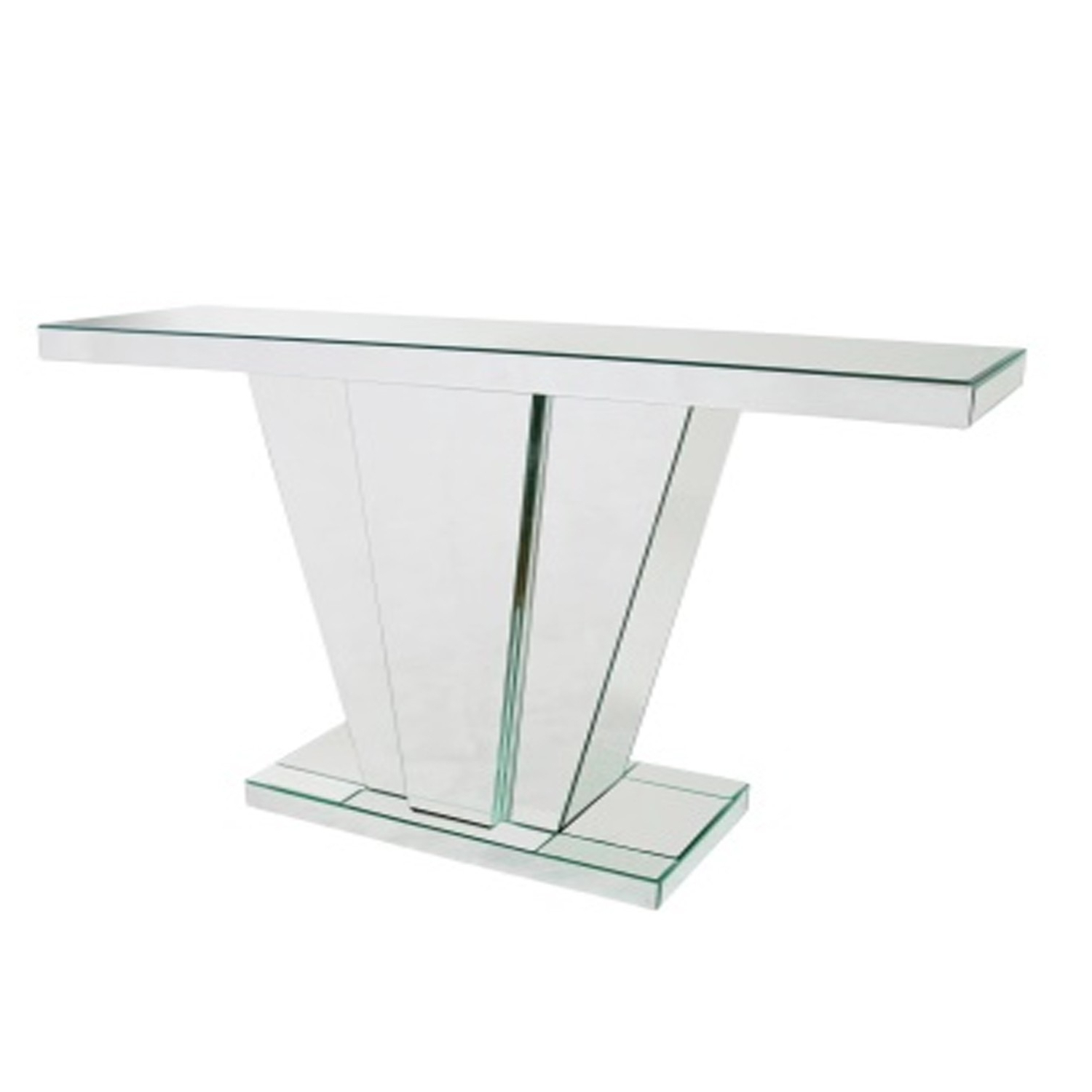 Trendy V Frame Mirrored Console Table Abreo Home Furniture With Regard To Frame Console Tables (View 18 of 20)