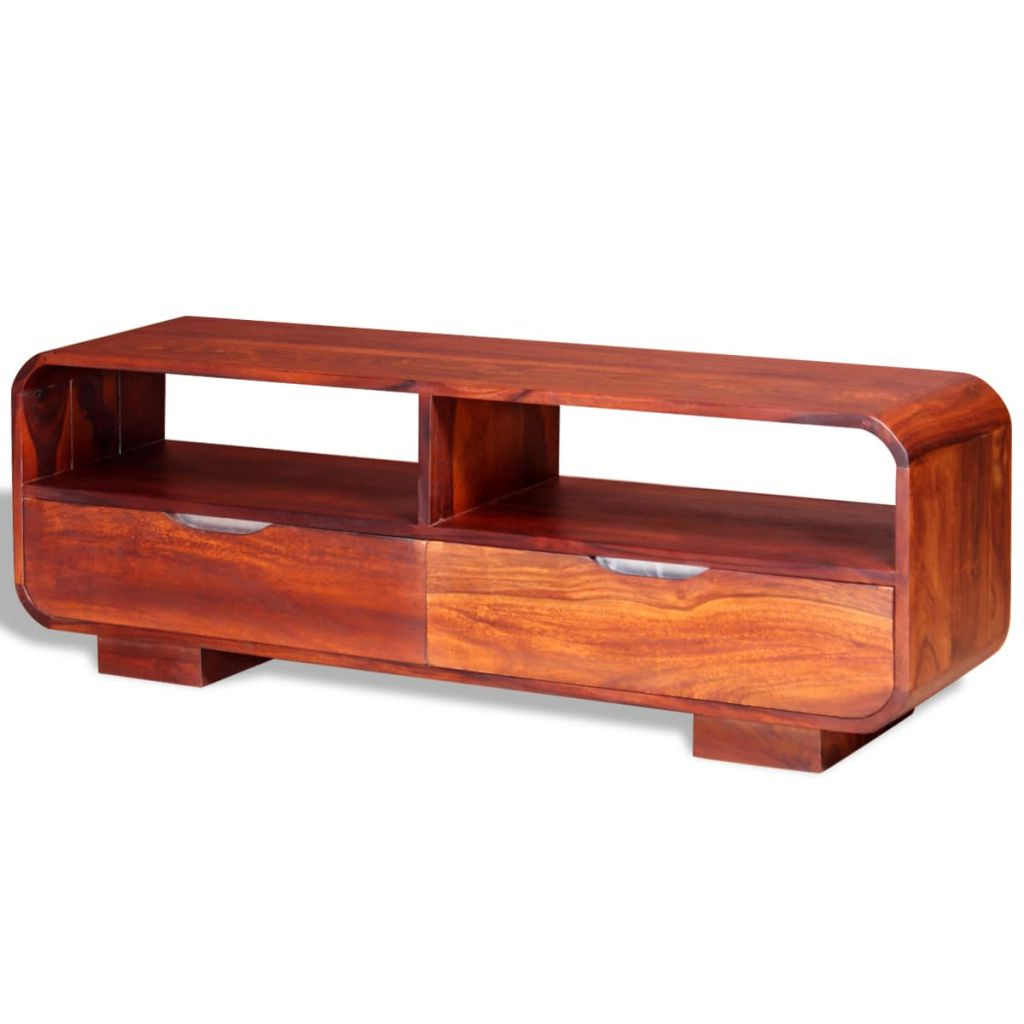 Trendy Vida Tv Cabinet Solid Sheesham Wood 116x30x40 Cm Inside Sheesham Tv Stands (View 6 of 20)
