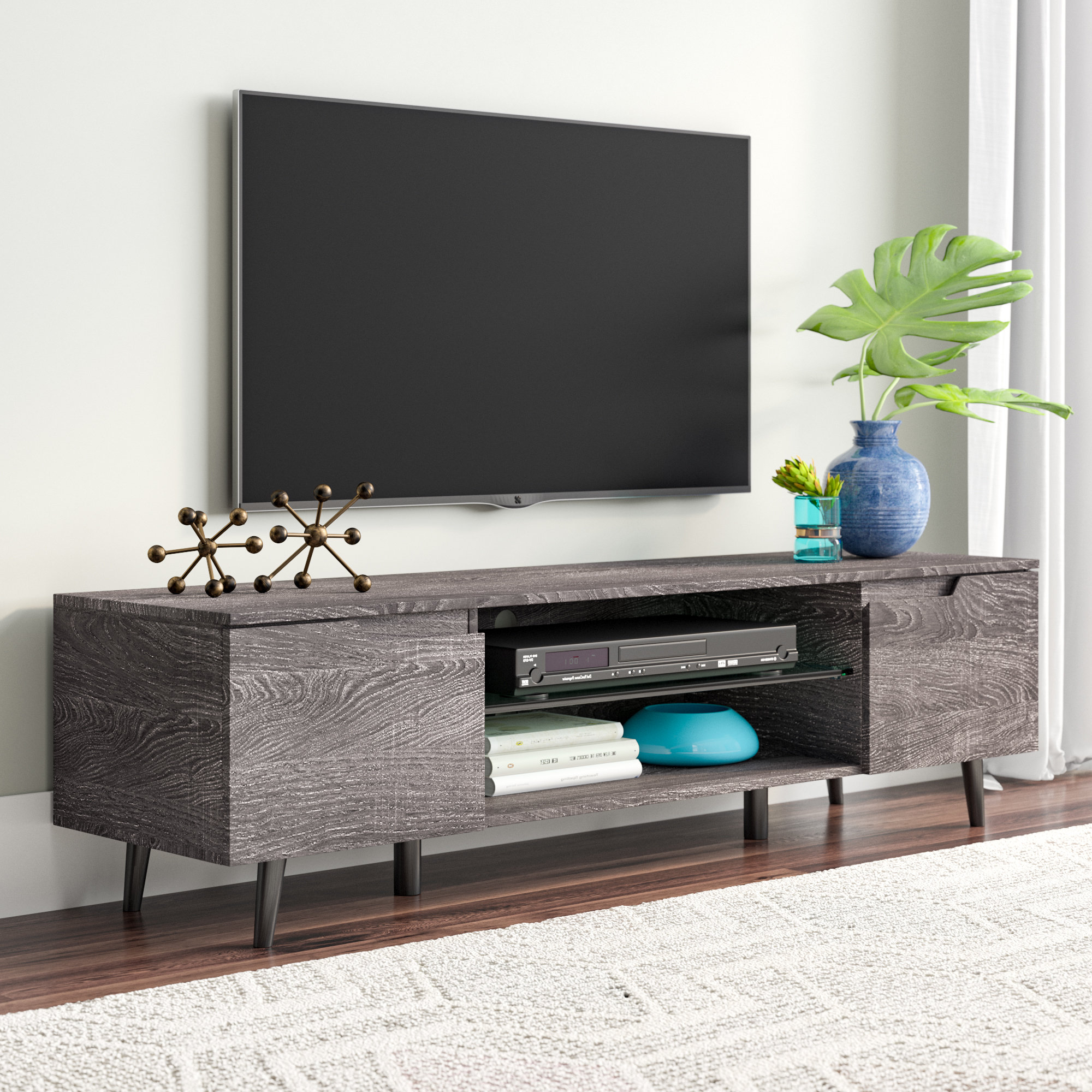 Trendy Walton Grey 72 Inch Tv Stands Throughout Metal Tv Stands You'll Love (View 15 of 20)