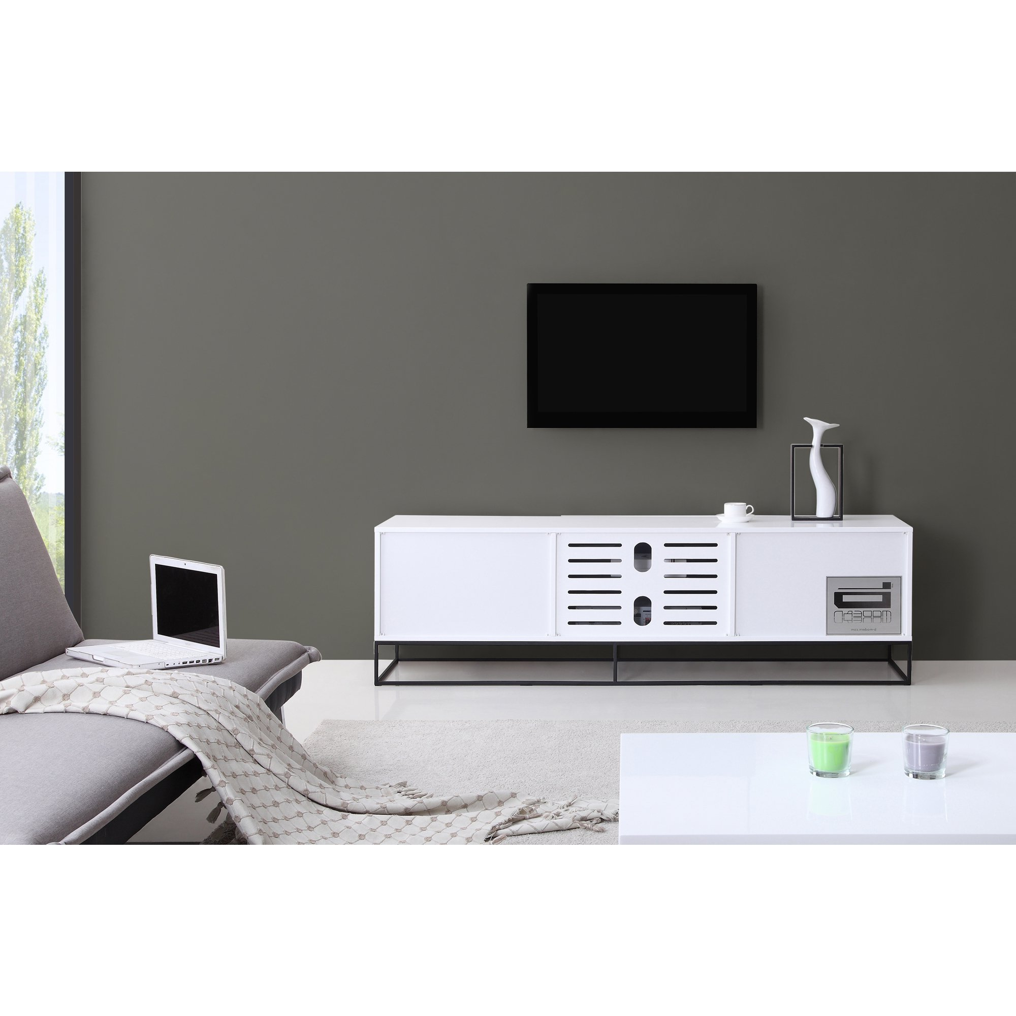 Trendy White And Black Tv Stands Regarding Shop B Modern Animator High Gloss White/ Black Modern Ir Tv Stand (View 13 of 20)