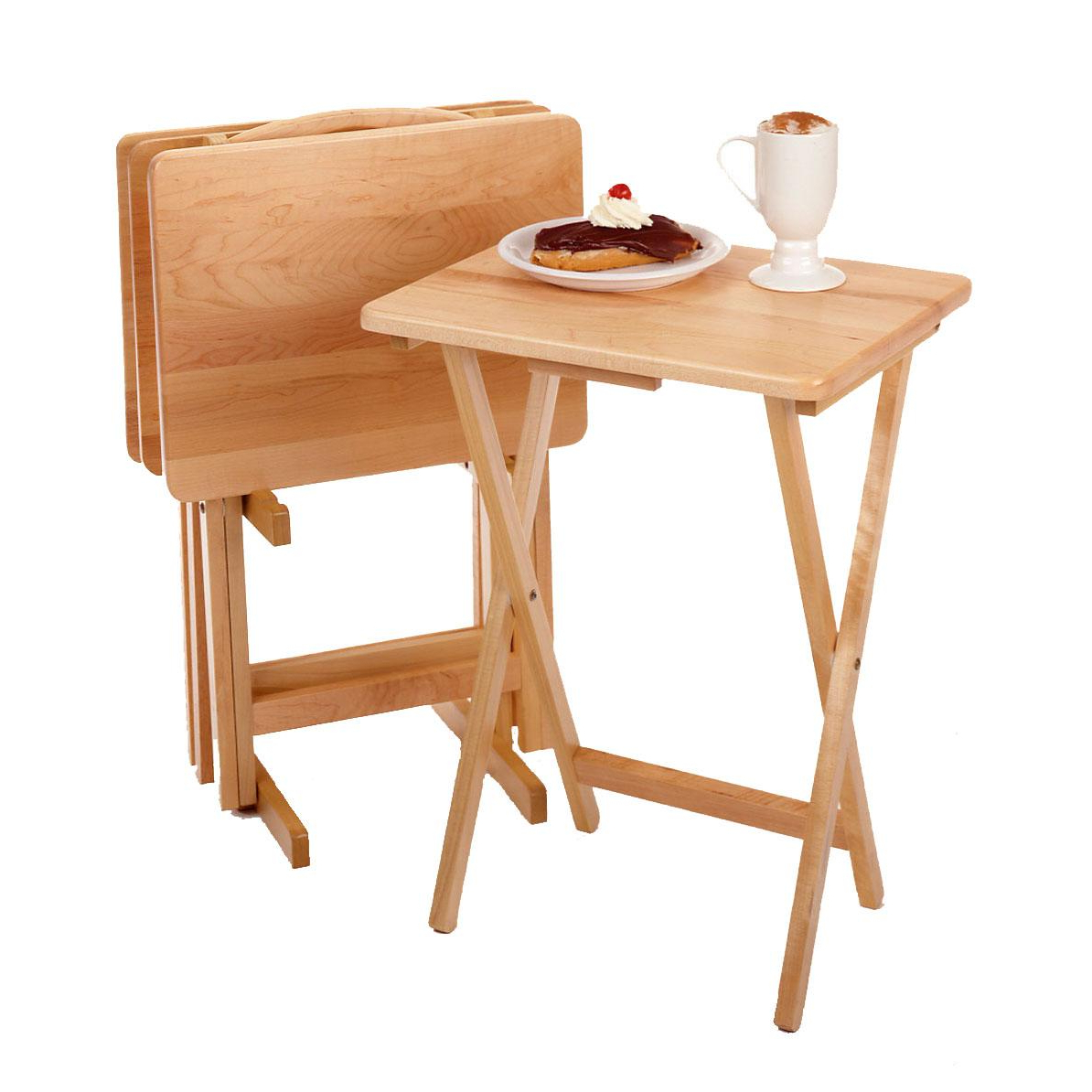 Trendy Winsome Wood 42520 Alex Snack Table Natural Set 5 Pc With Regard To Tv Tray Set With Stands (View 8 of 20)