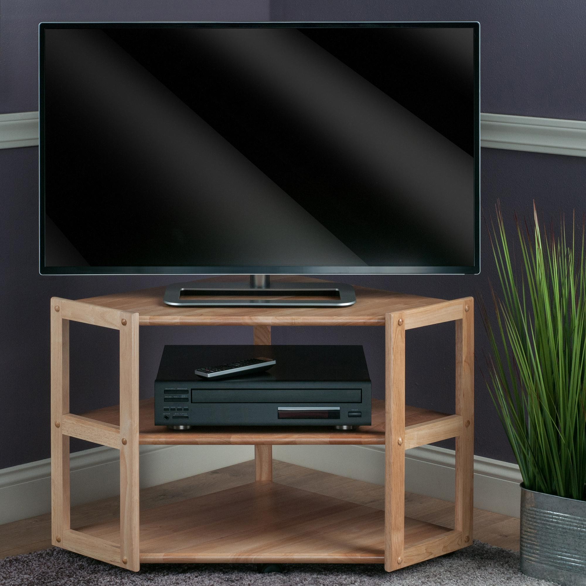 Triangular Tv Stands In Newest Amazon: Winsome Wood Corner Tv Stand, Natural: Kitchen & Dining (View 6 of 20)