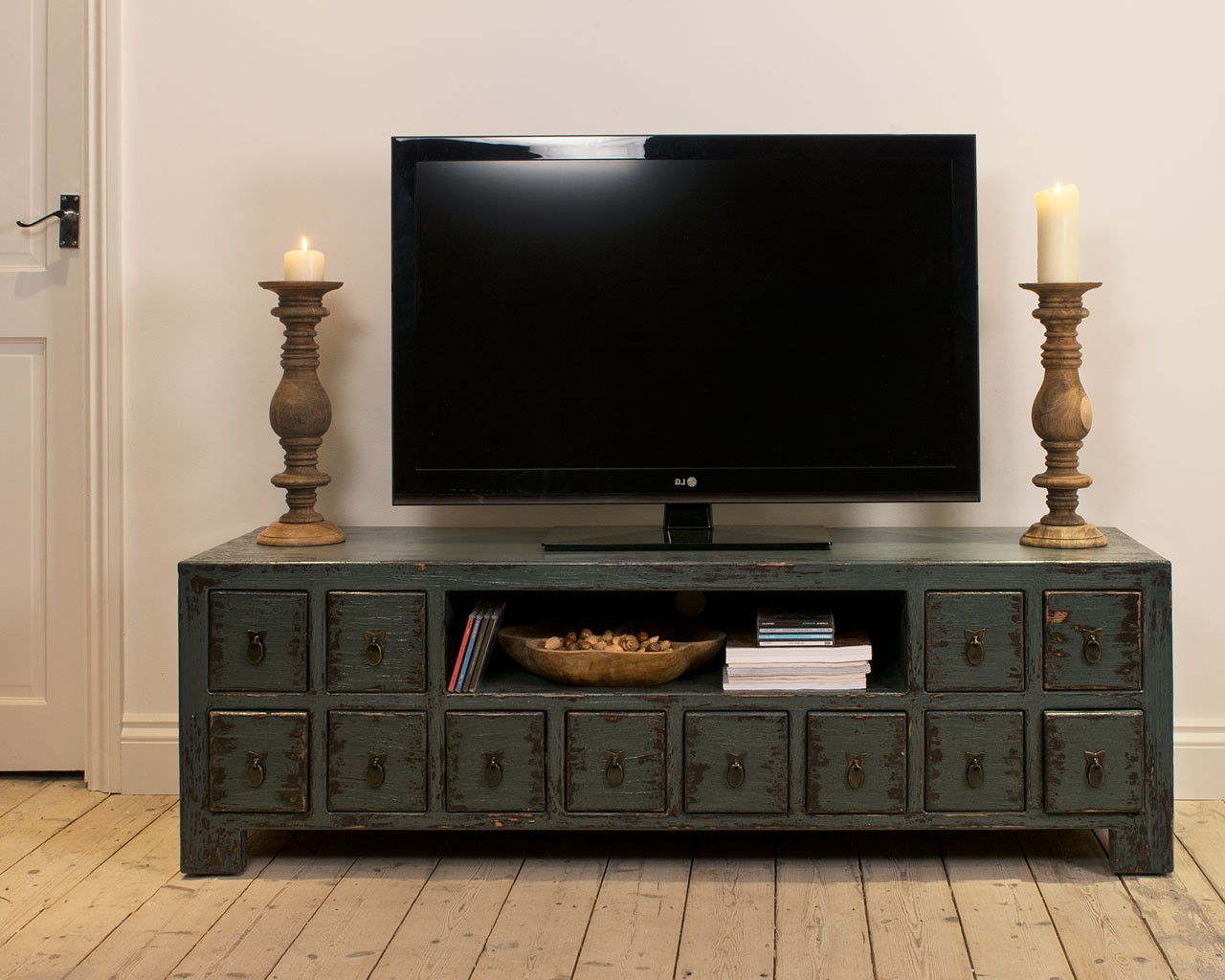 Tukang Mindi Tv Cabinet – Dark Blue Intended For Most Up To Date Dark Wood Tv Cabinets (View 8 of 20)