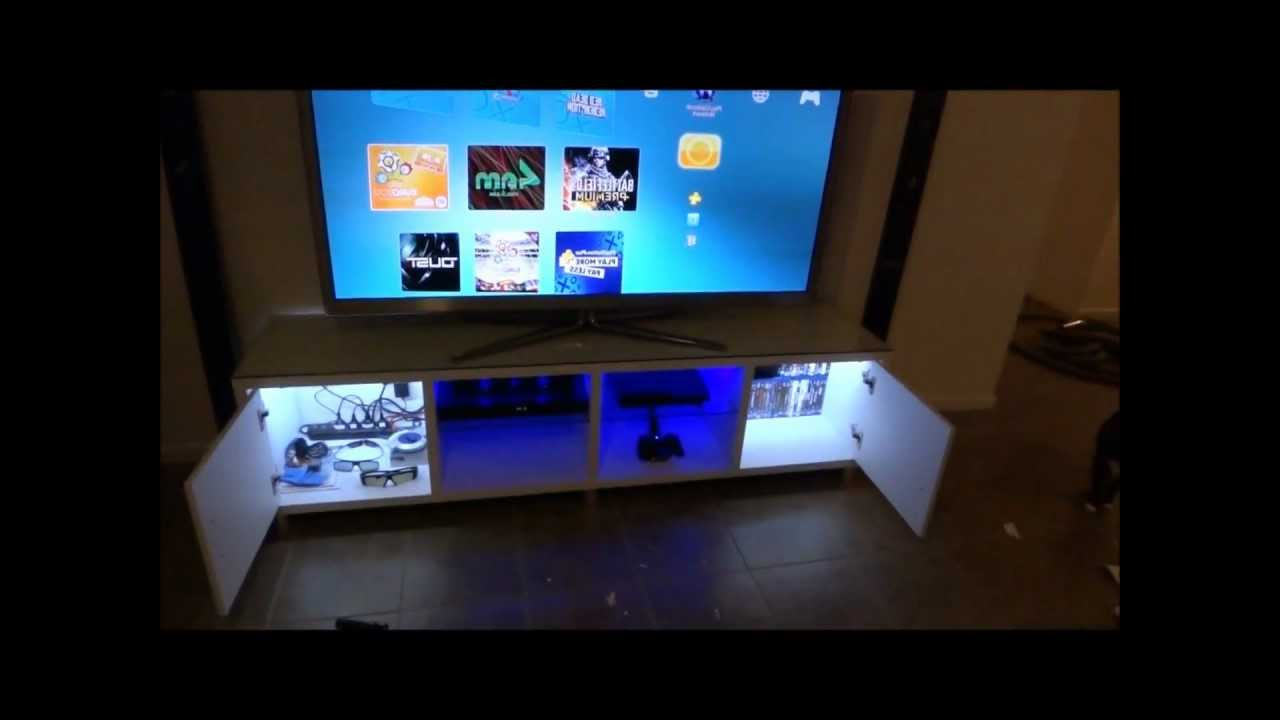 Tv Cabinet Custom Led Lighting – Youtube Regarding Famous Tv Stands With Led Lights (View 19 of 20)