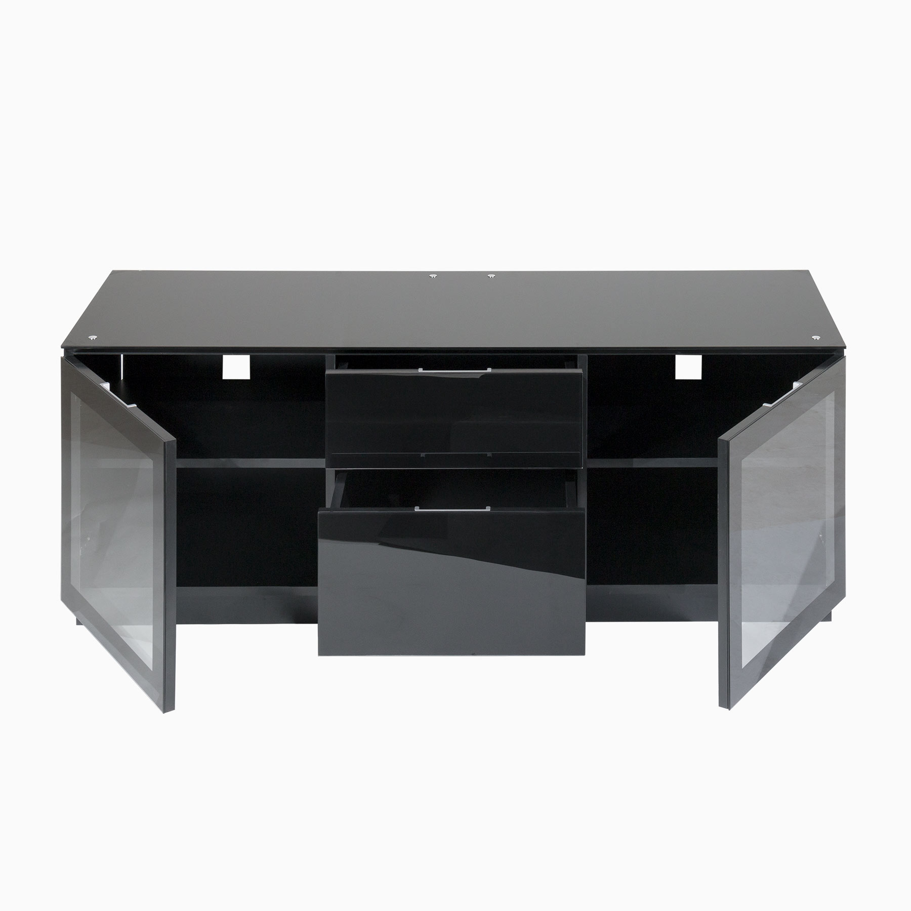 "Tv Cabinet With Doors And Drawers For Up To 65"" Screens Within Current Black Tv Cabinets With Drawers (View 16 of 20)"