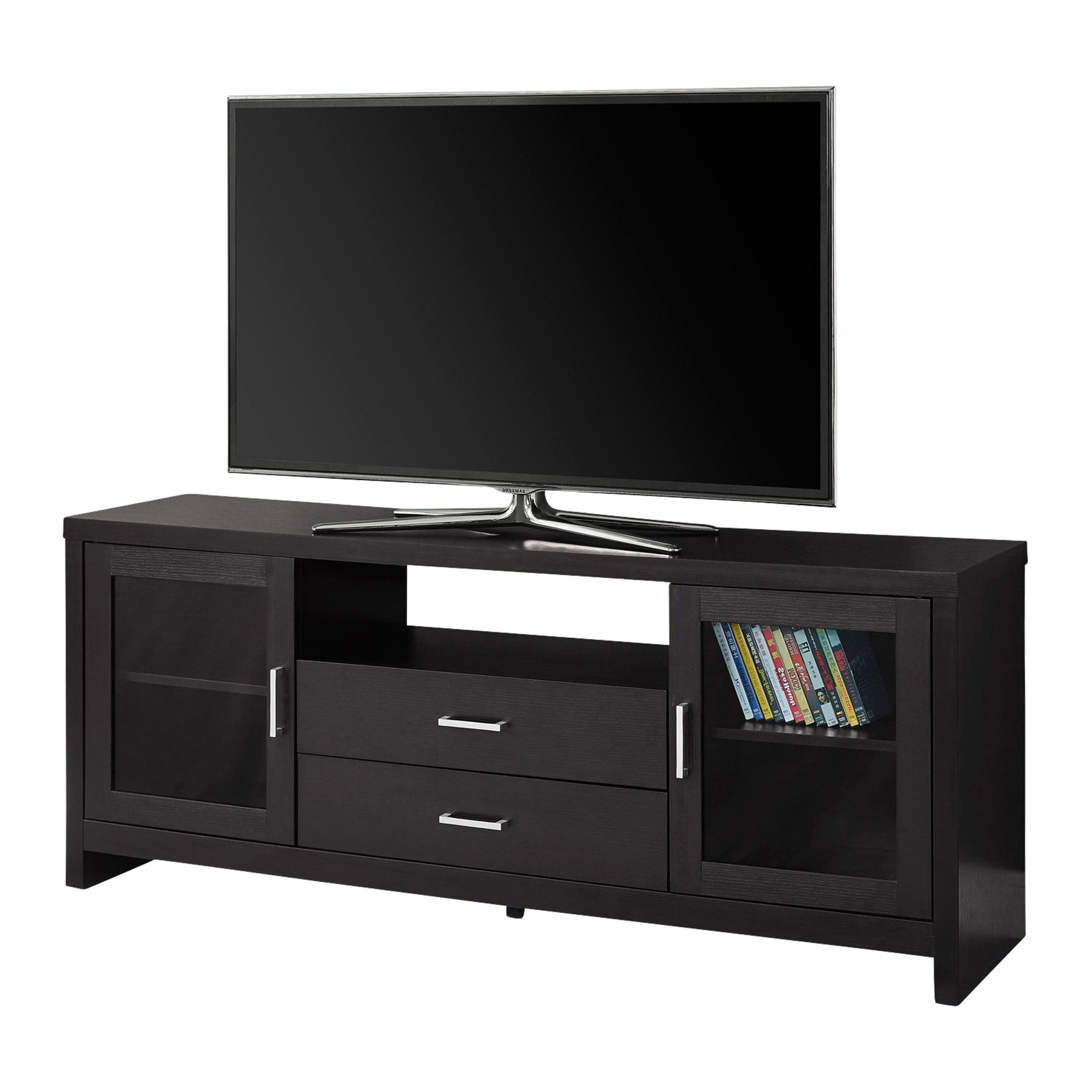"""Tv Cabinets Pertaining To Best And Newest Monarch Specialties Inc Cappuccino 60"""" Tv Stand With Drawers & Doors (View 17 of 20)"""