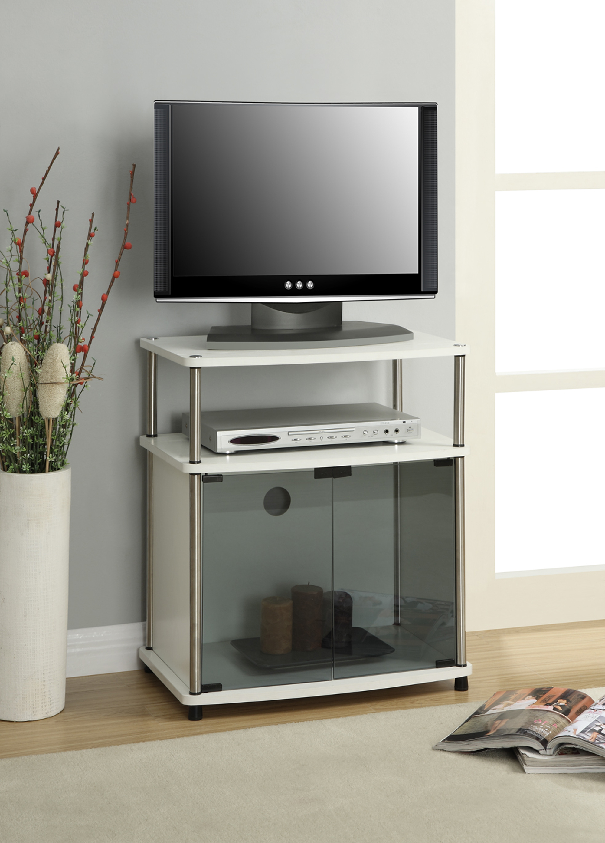 Tv Cabinets With Glass Doors Within Recent Convenience Concepts Designs2go No Tools Tv Stand With Black Glass (View 15 of 20)