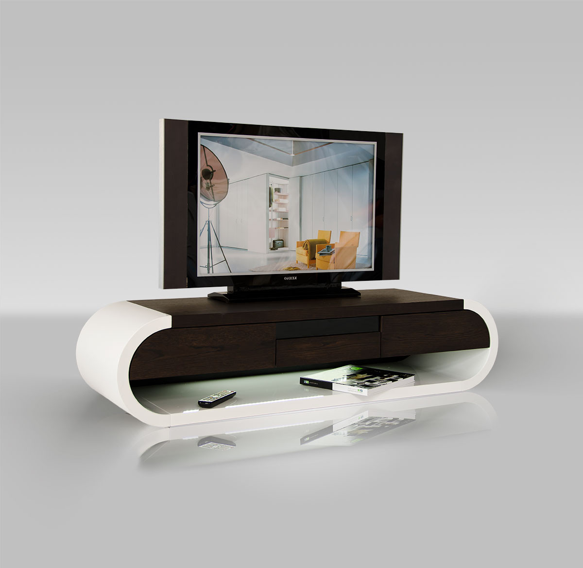 Tv Entertainment Units For 2017 Tv091 Modern Two Tone Tv Entertainment Unit W/ Light (View 17 of 20)