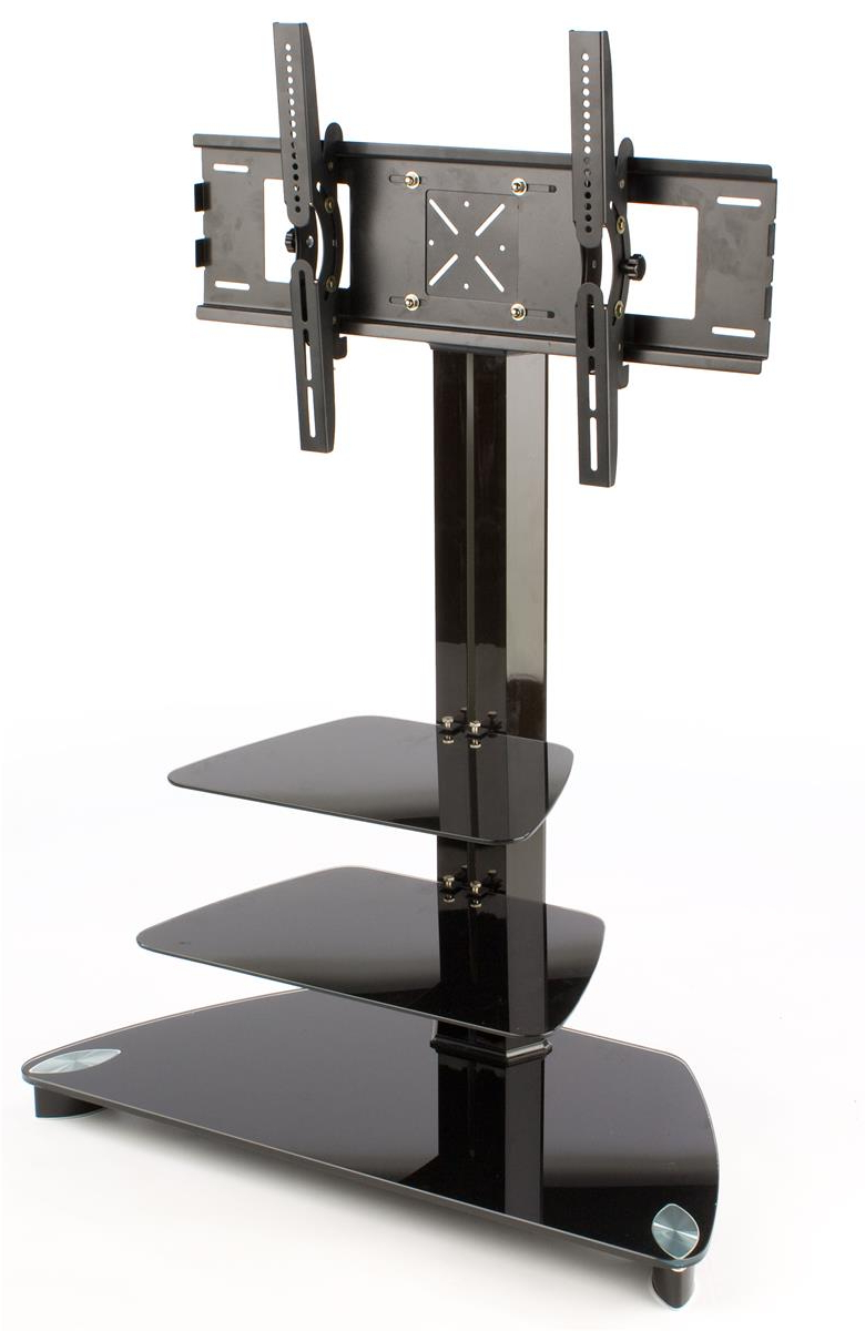 """Tv Stand – (2) Black Glass Shelves – 54"""" Tall For Current Tv Stands With Mount (View 17 of 20)"""