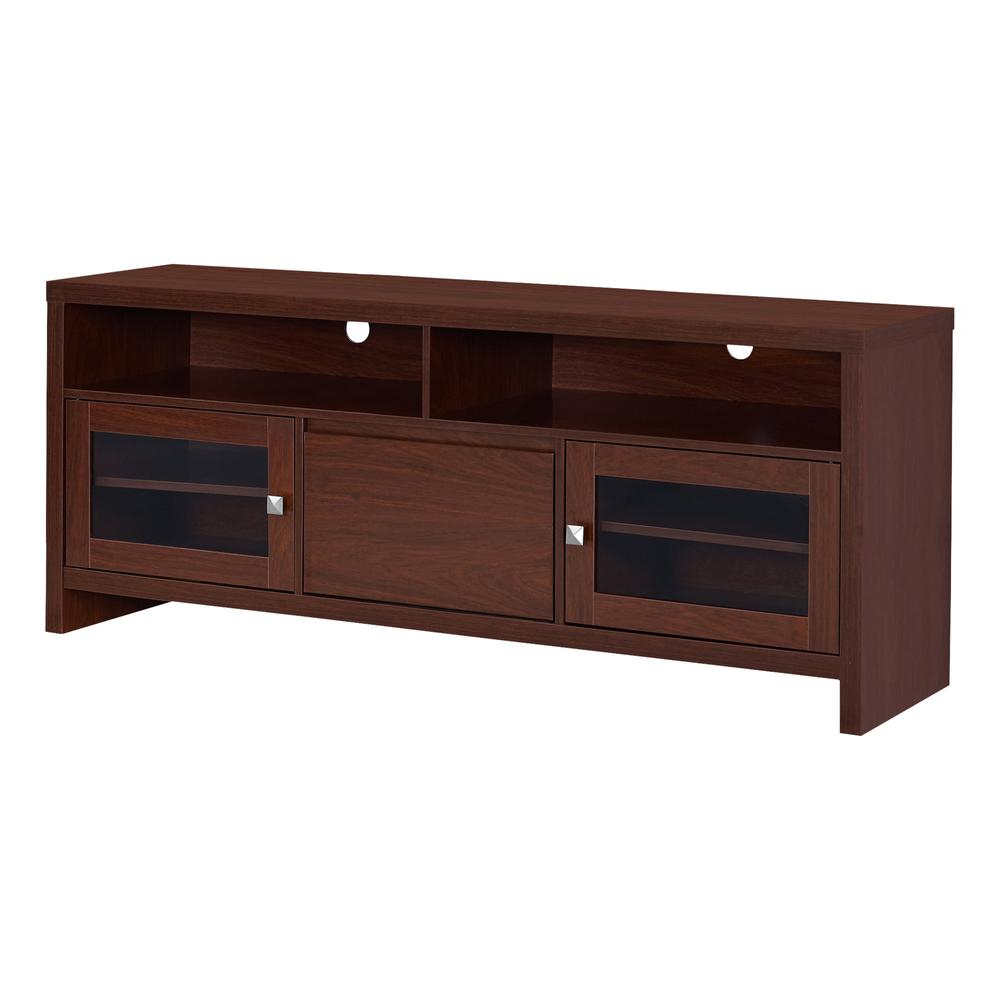 "Tv Stand – 60""l / Warm Cherry With Glass Doors With Fashionable Rowan 74 Inch Tv Stands (View 17 of 20)"