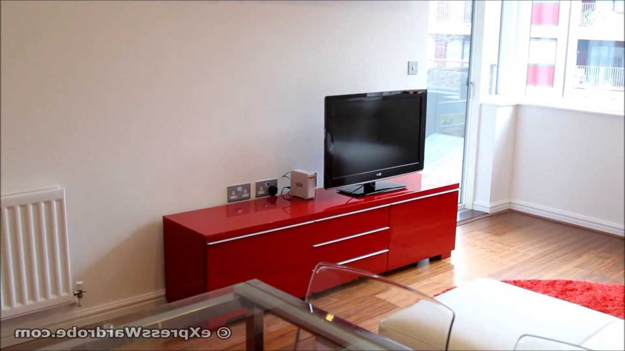Tv Stand Besta Burs Tv Stand Unit High Gloss Red Besta Burs Tv Con Intended For Most Popular Red Tv Units (View 16 of 20)
