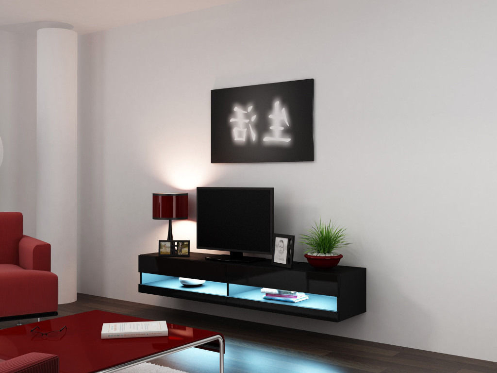 Tv Stand Cabinet With Led Lights High Gloss (View 9 of 20)