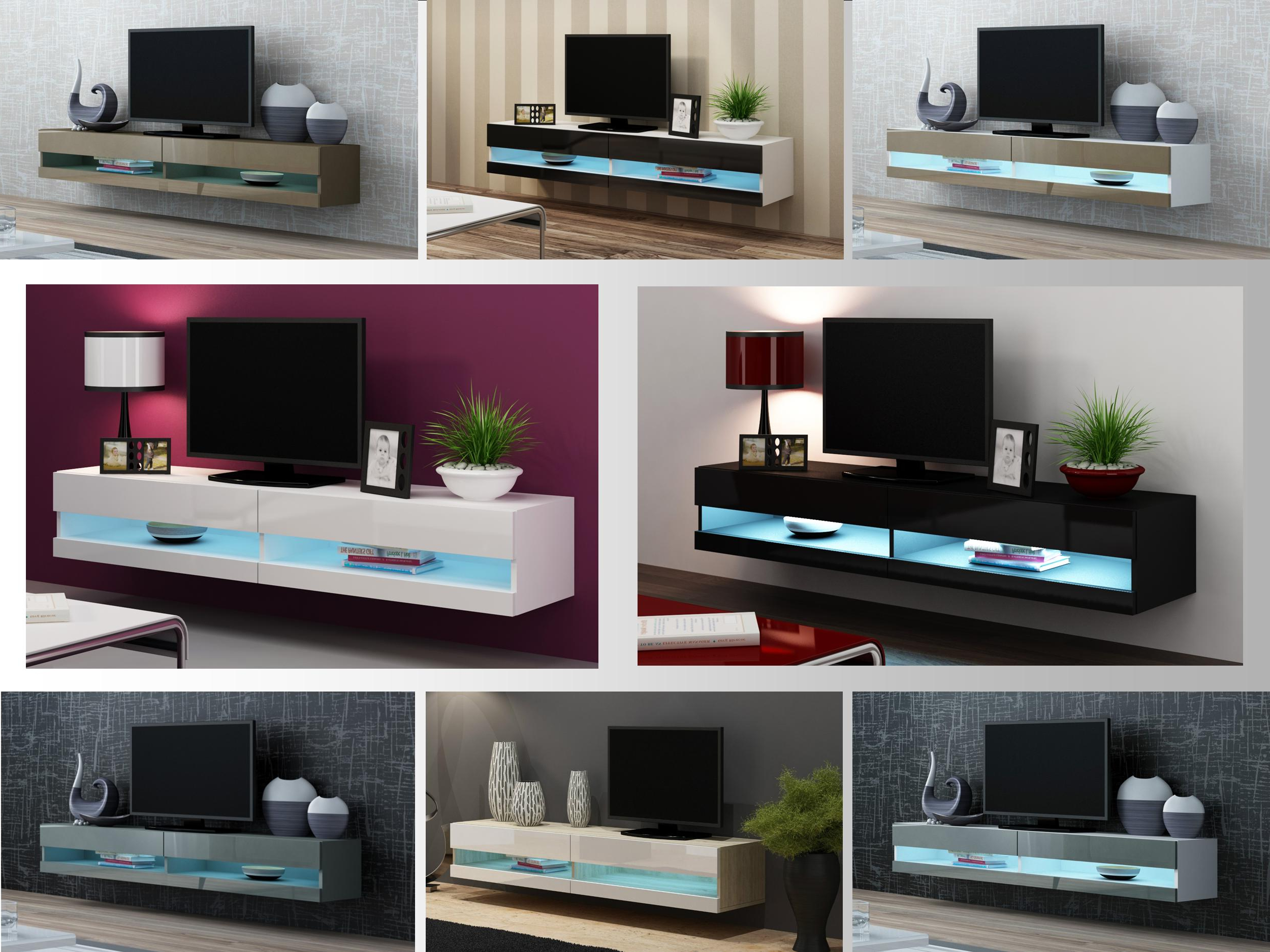 Tv Stand Cabinet With Led Lights High Gloss (View 2 of 20)