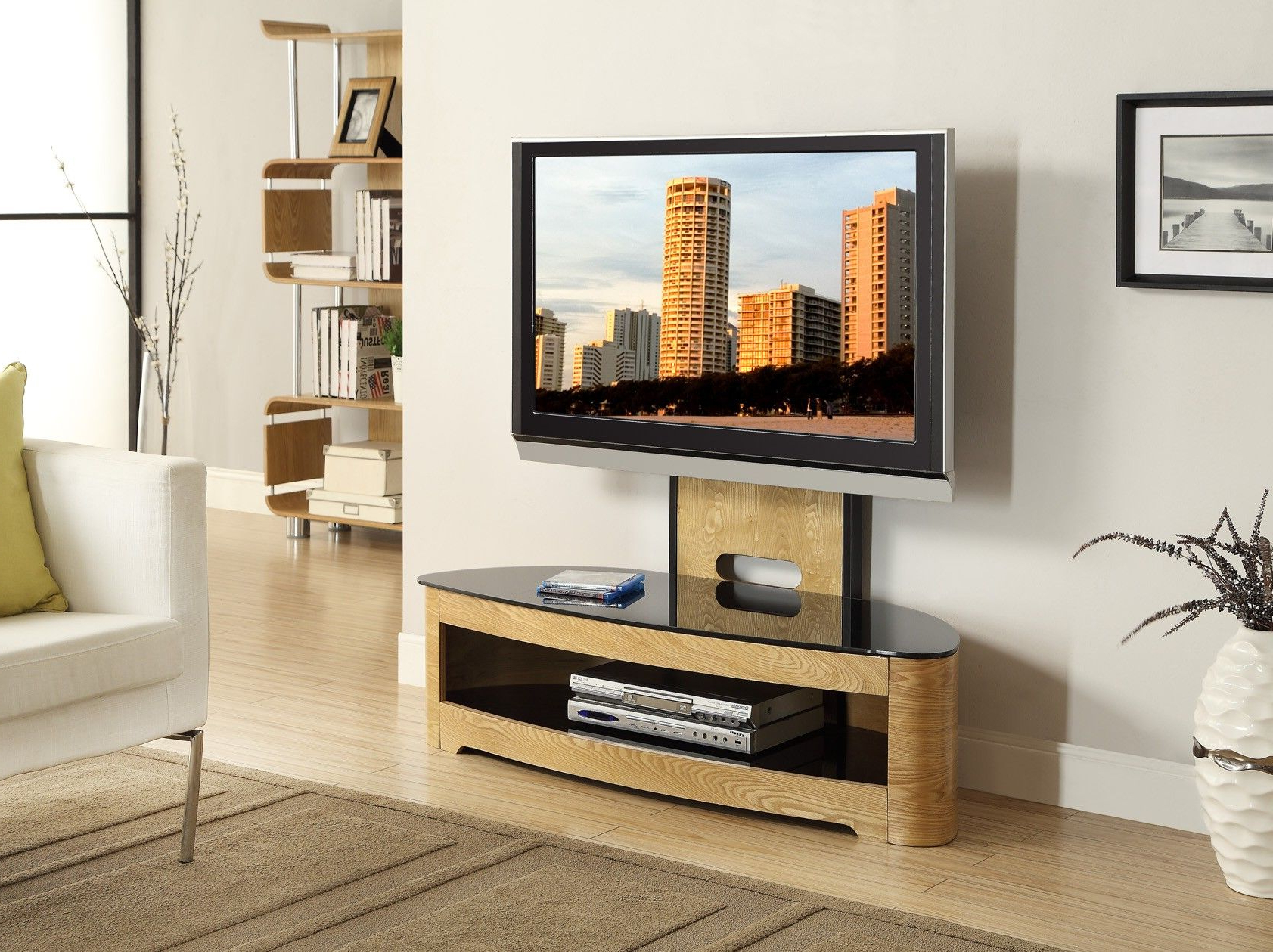 Tv Stand Cantilever Throughout Well Known Jual Furnishings Jf209 Curved Oak Cantilever Tv Stand Upto  (View 15 of 20)
