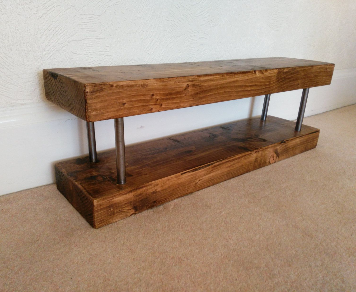 Tv Stand Narrow Chunky Rustic Industrial Solid Wood Lcd Slim Tv Unit In Current Slim Line Tv Stands (View 19 of 20)