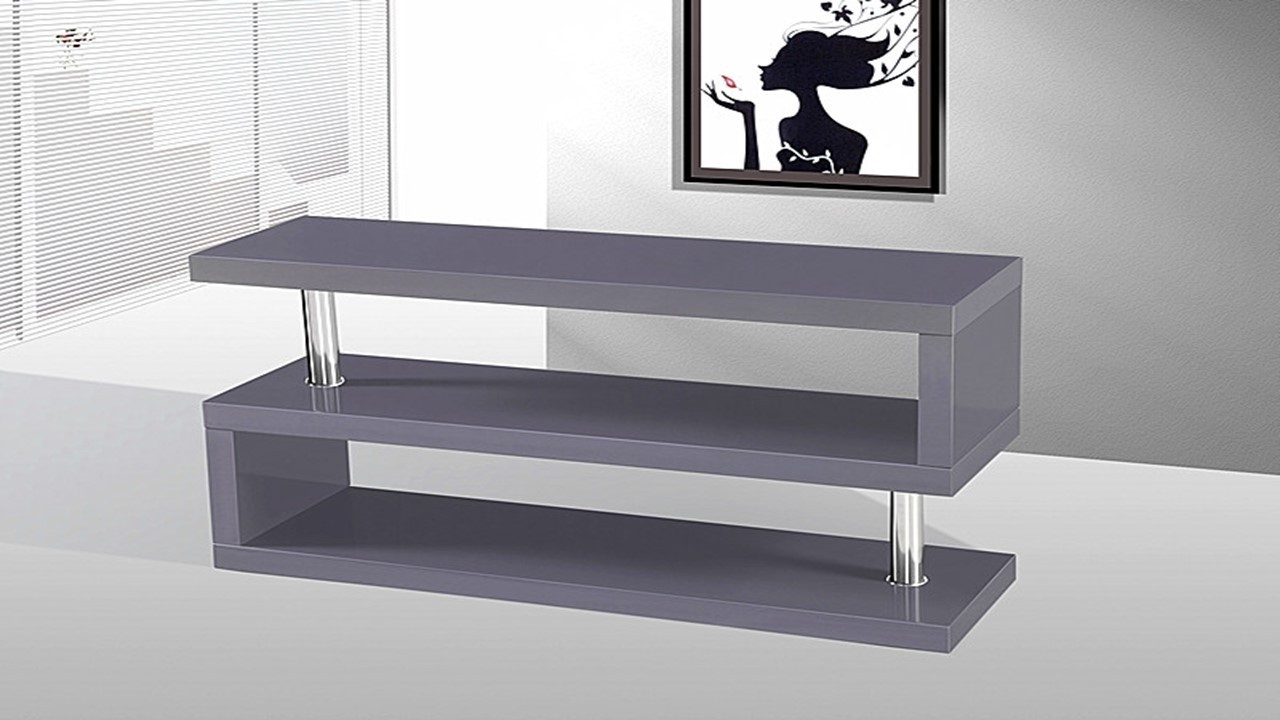 Tv Stand Unit In Grey High Gloss – Homegenies With Latest High Gloss Tv Cabinets (View 17 of 20)