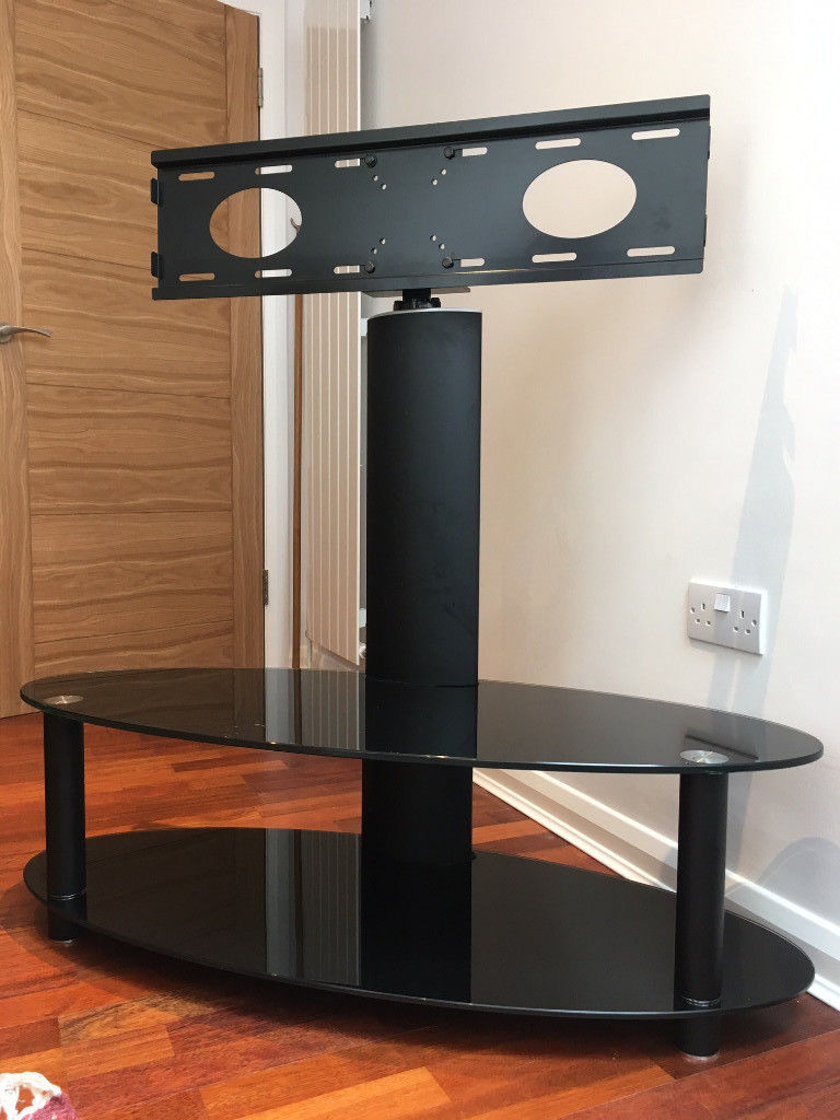 Tv Stand With Swivel Bracket – Toughened Black Glass, 2 Shelves (View 20 of 20)