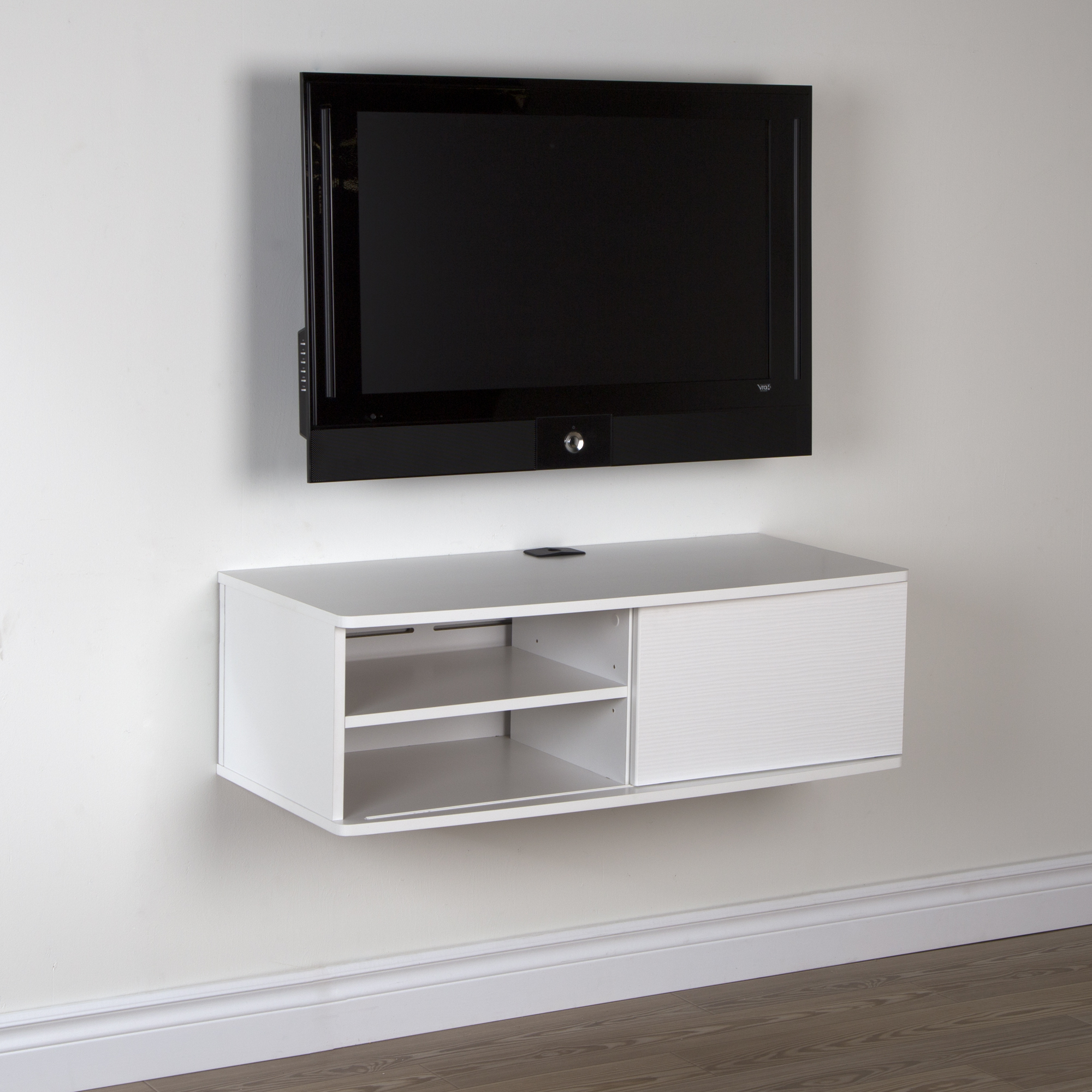 Tv Stands 38 Inches Wide Throughout Recent Wall Mounted Tv Stand For Tvs Up To 38 Inch White Sliding Door Media (View 8 of 20)