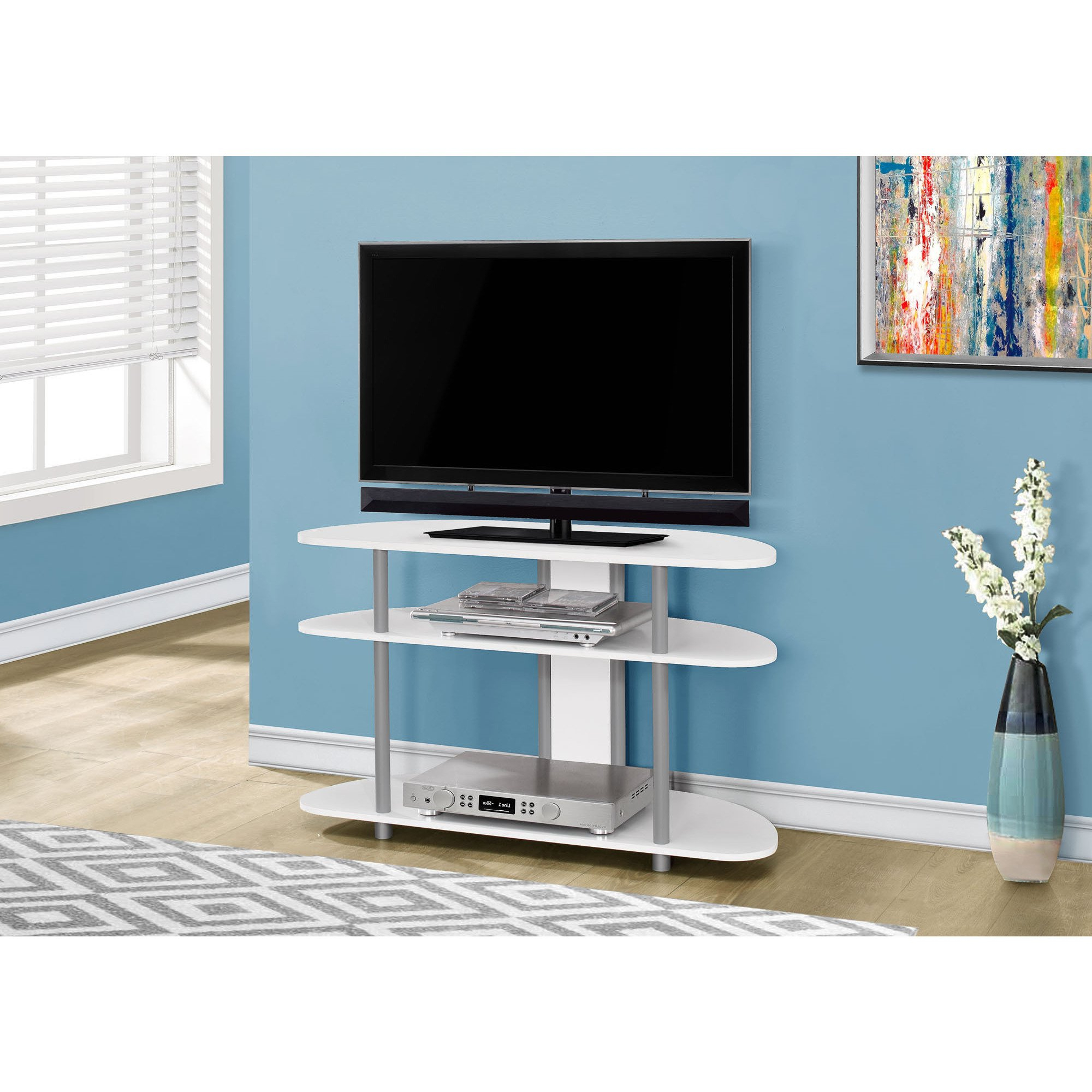 """Tv Stands 38 Inches Wide Within 2017 Shop Tv Stand 38""""l/white With Silver Accent – Free Shipping Today (View 20 of 20)"""