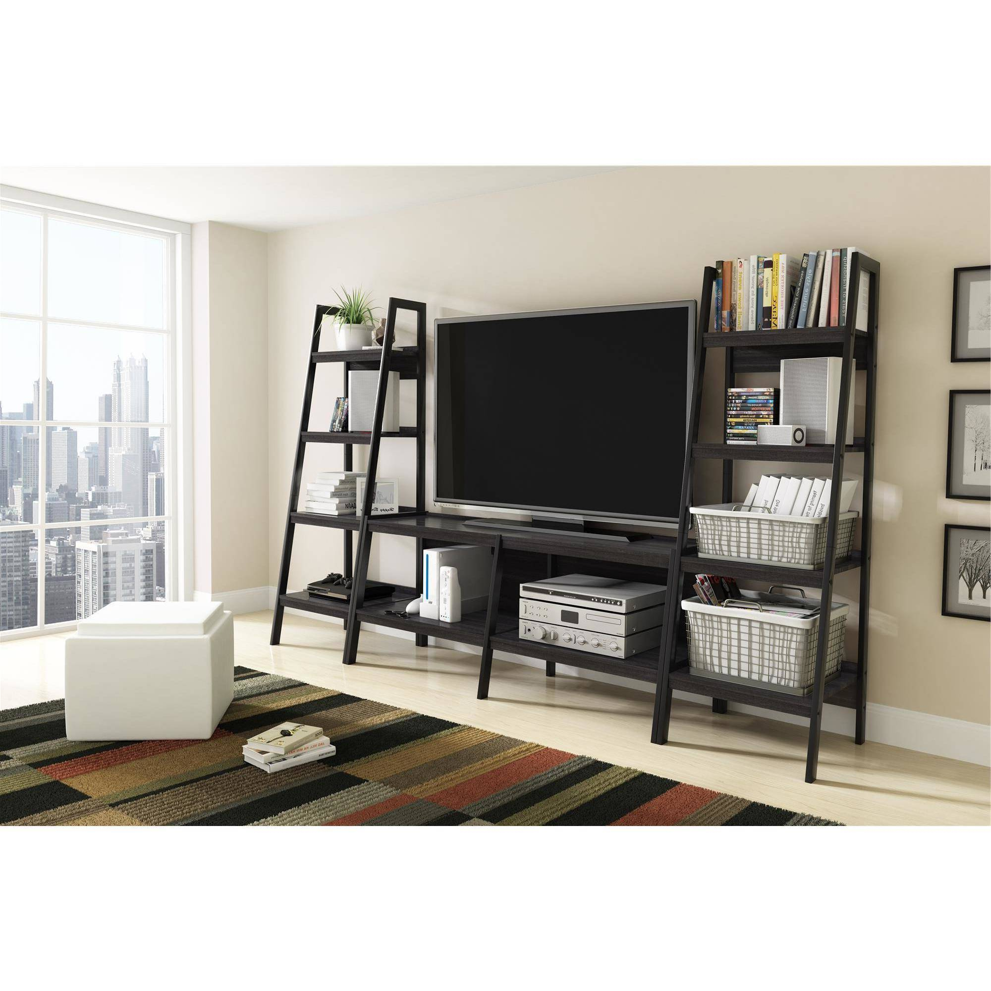 Tv Stands And Bookshelf Intended For Trendy Bookshelf And Tv Stand Set Ladder Bookcase 3 Piece Entertainment (View 16 of 20)