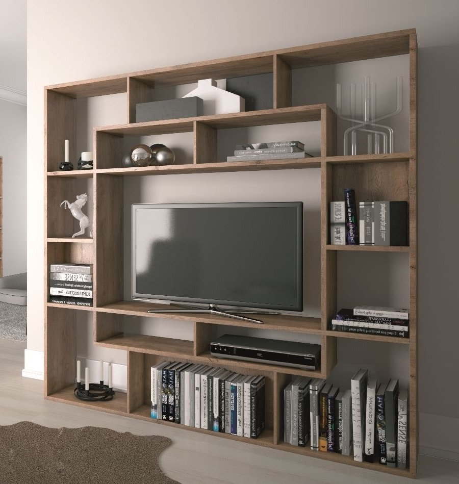 Tv Stands And Bookshelf Throughout Preferred Shelving Unit Bookcase Display Storage Wood Shelf Tv Unit (View 10 of 20)