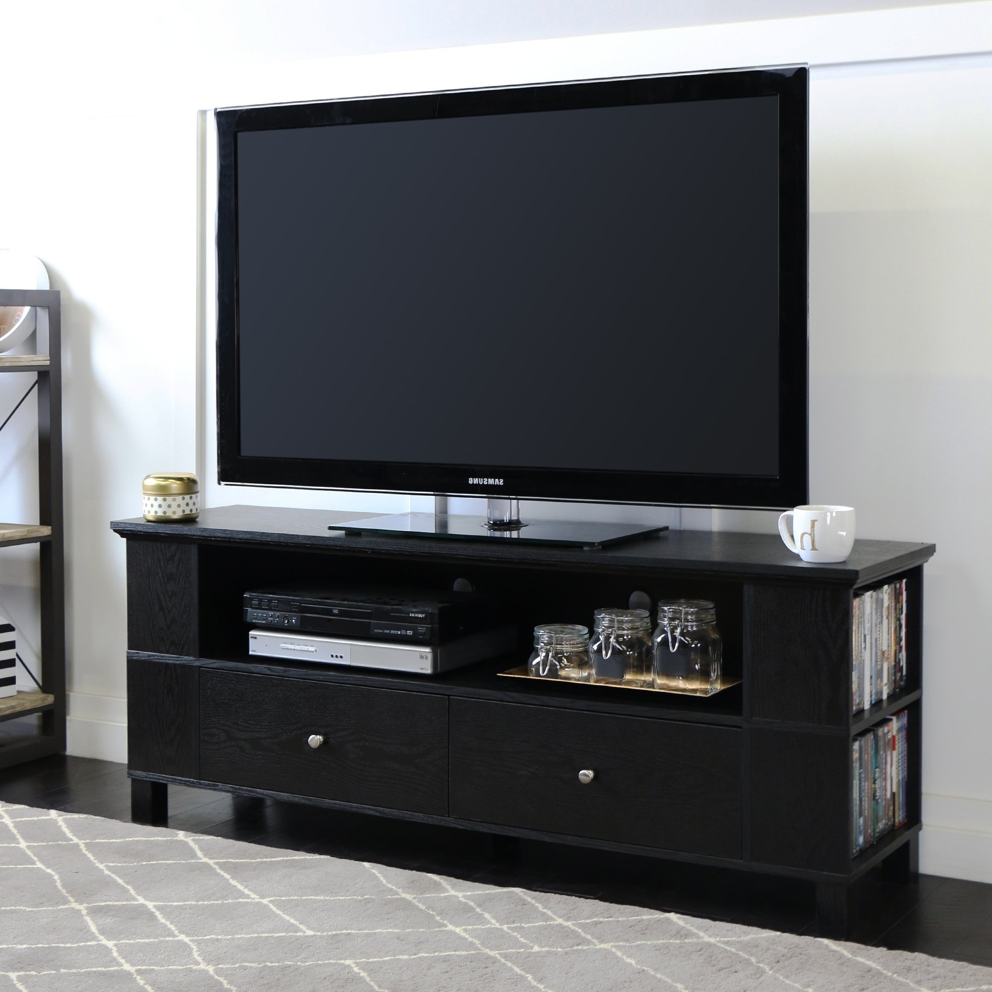 """Tv Stands For 43 Inch Tv Throughout 2018 Shop 59"""" Tv Stand Storage Console – Black – 60 X 16 X 23h – On Sale (View 16 of 20)"""