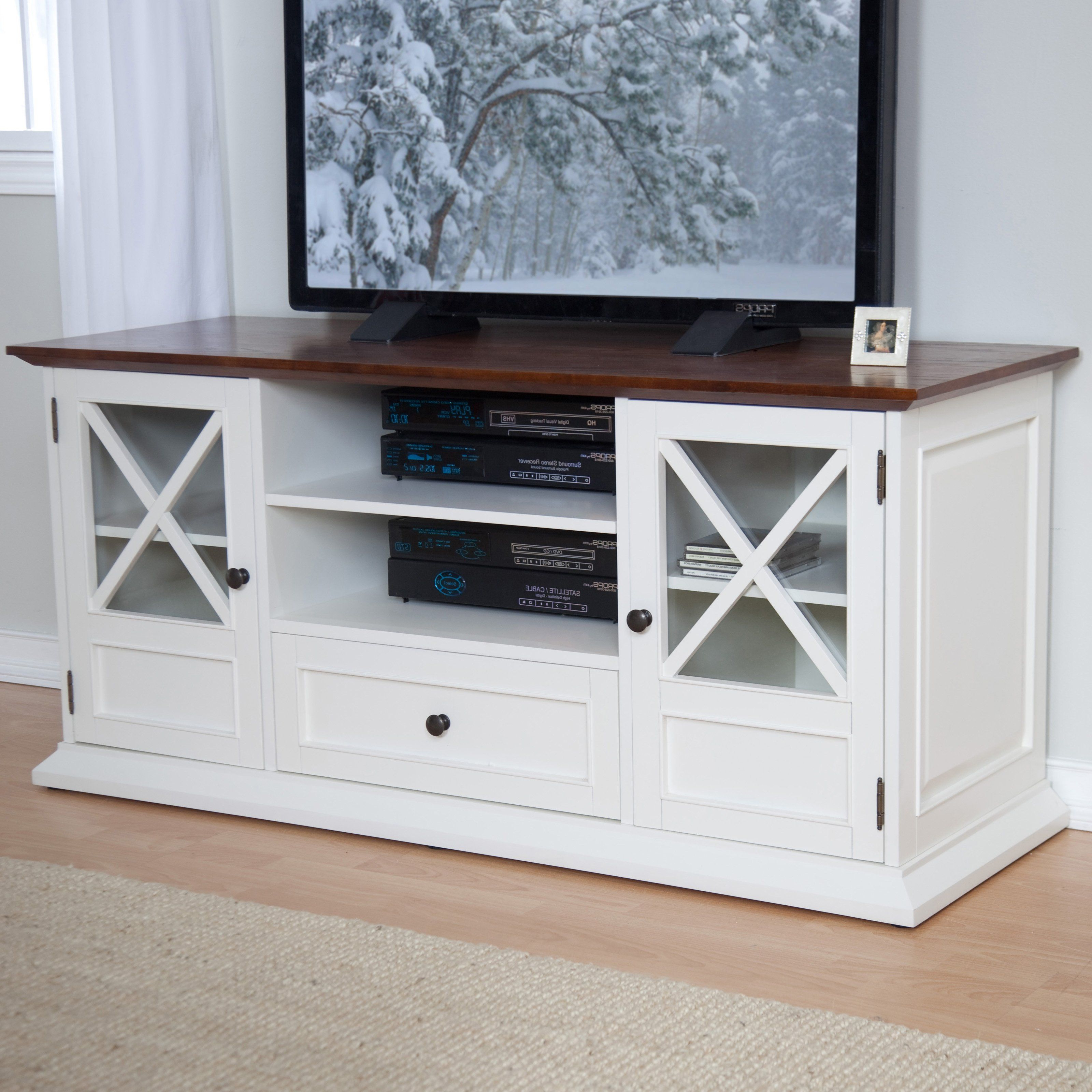 Tv Stands For 55 Inch Tv Inside Latest Belham Living Hampton Tv Stand – White/oak – Tv Stands At Hayneedle (View 18 of 20)