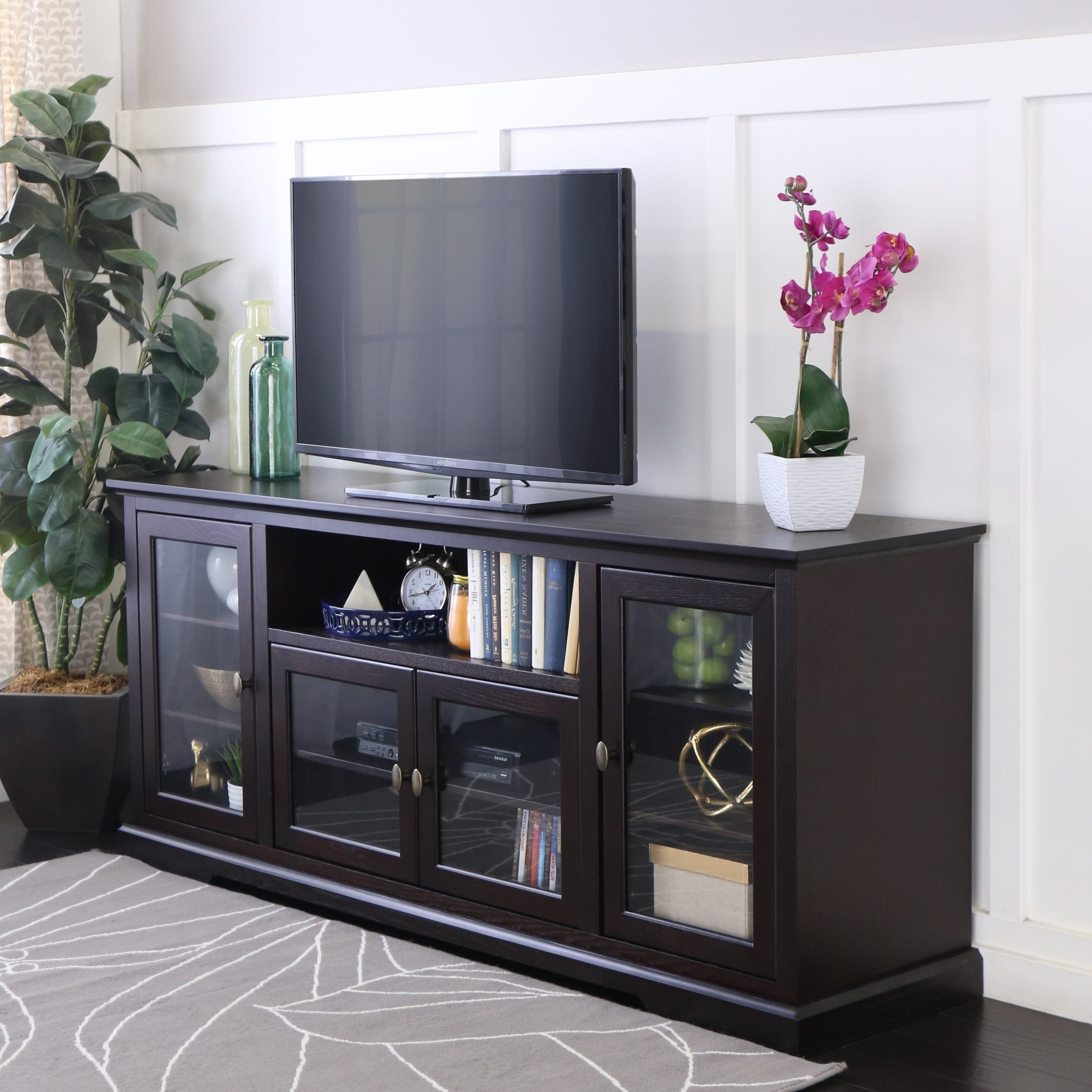 """Tv Stands For 70 Flat Screen For Well Known Shop 70"""" Highboy Tv Stand Console – Espresso – 70 X 16 X 30h – On (View 20 of 20)"""