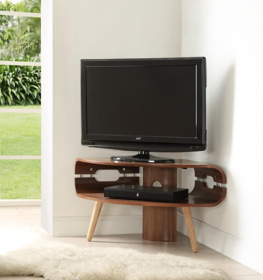 Tv Stands For Small Rooms Regarding Famous Furniture: Unique Small Corner Tv Stand Featuring High Leg And (View 8 of 20)