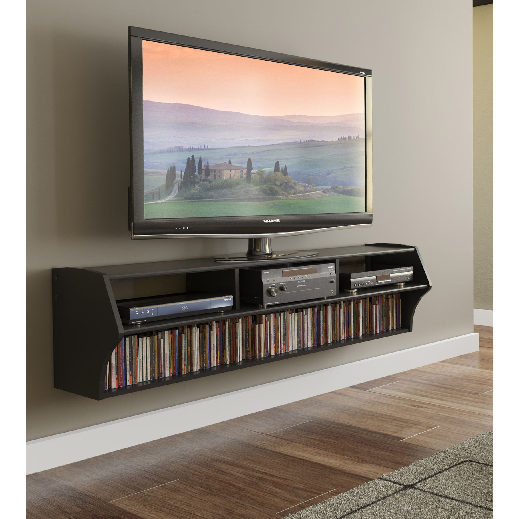 Tv Stands For Small Spaces Within Well Known An Elegant Way To Display Your Television, This Modern Floating Tv (View 5 of 20)