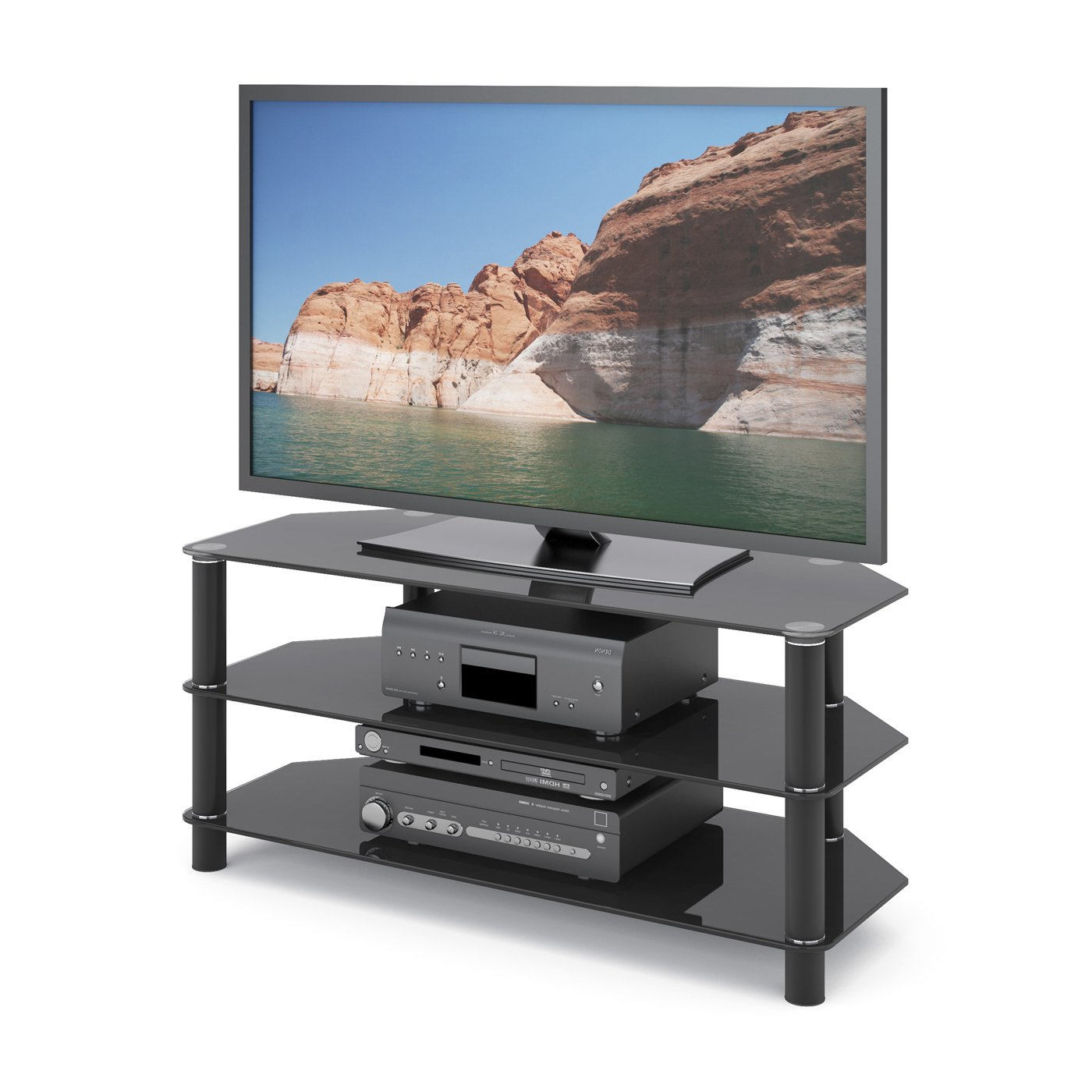 Tv Stands Over Cable Box Pertaining To Well Liked Stand For Cable Box And Dvd Player Wall Unit Entertainment Shelf (View 3 of 20)