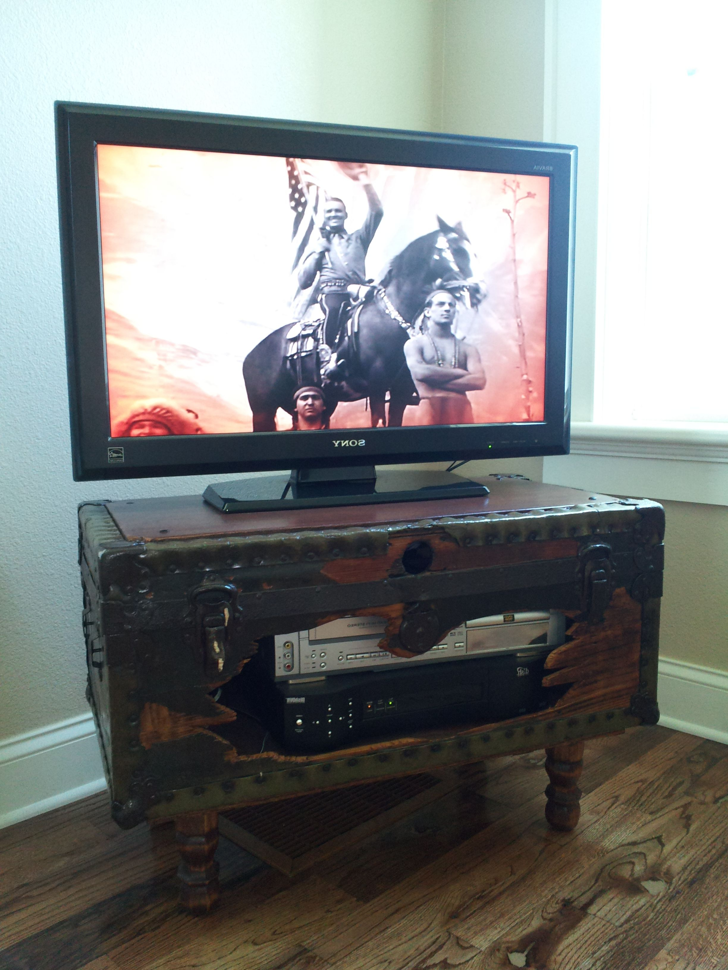 Tv Stands Over Cable Box With Widely Used Shabby Trunk Turned Into Tv Stand That Holds Dvr, Vcr And All Those (View 11 of 20)