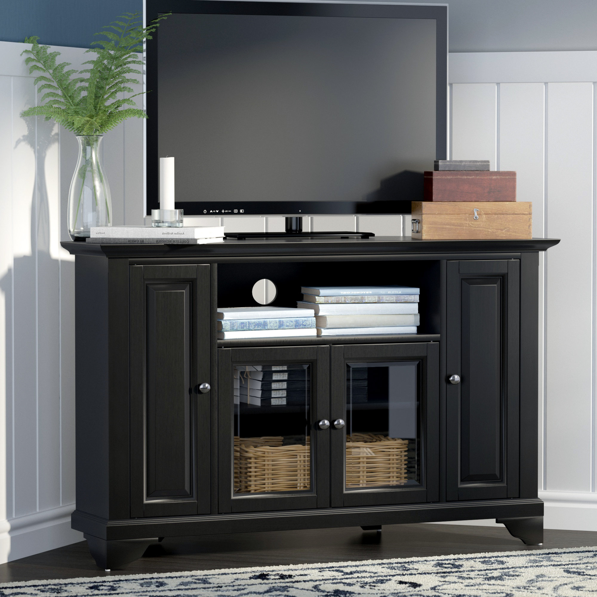Tv Stands With Back Panel Inside Preferred Corner Tv Stands You'll Love (View 11 of 20)