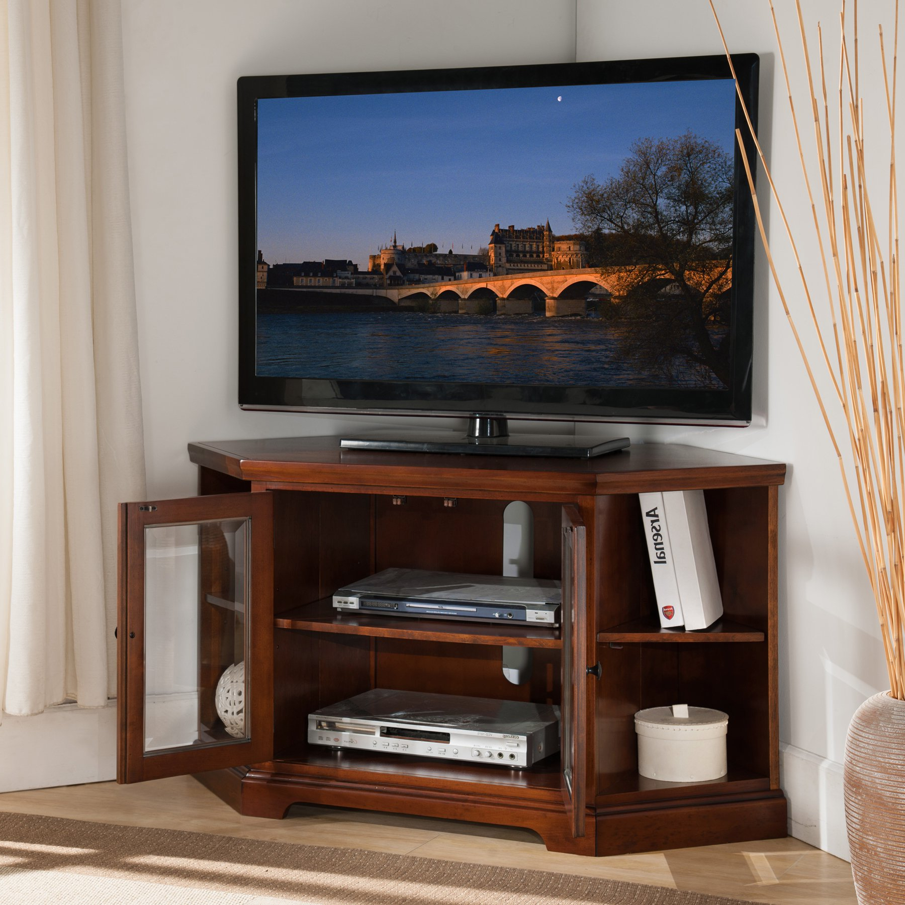 Tv Stands With Bookcases Throughout Most Popular Shop Westwood Cherry 46 Inch Corner Tv Stand With Bookcases – Free (View 11 of 20)